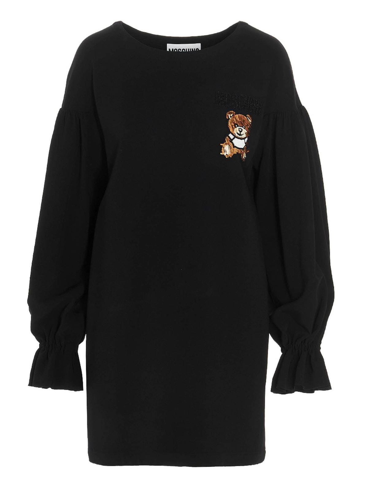 Moschino TEDDY EMBROIDERY SHORT DRESS IN BLACK