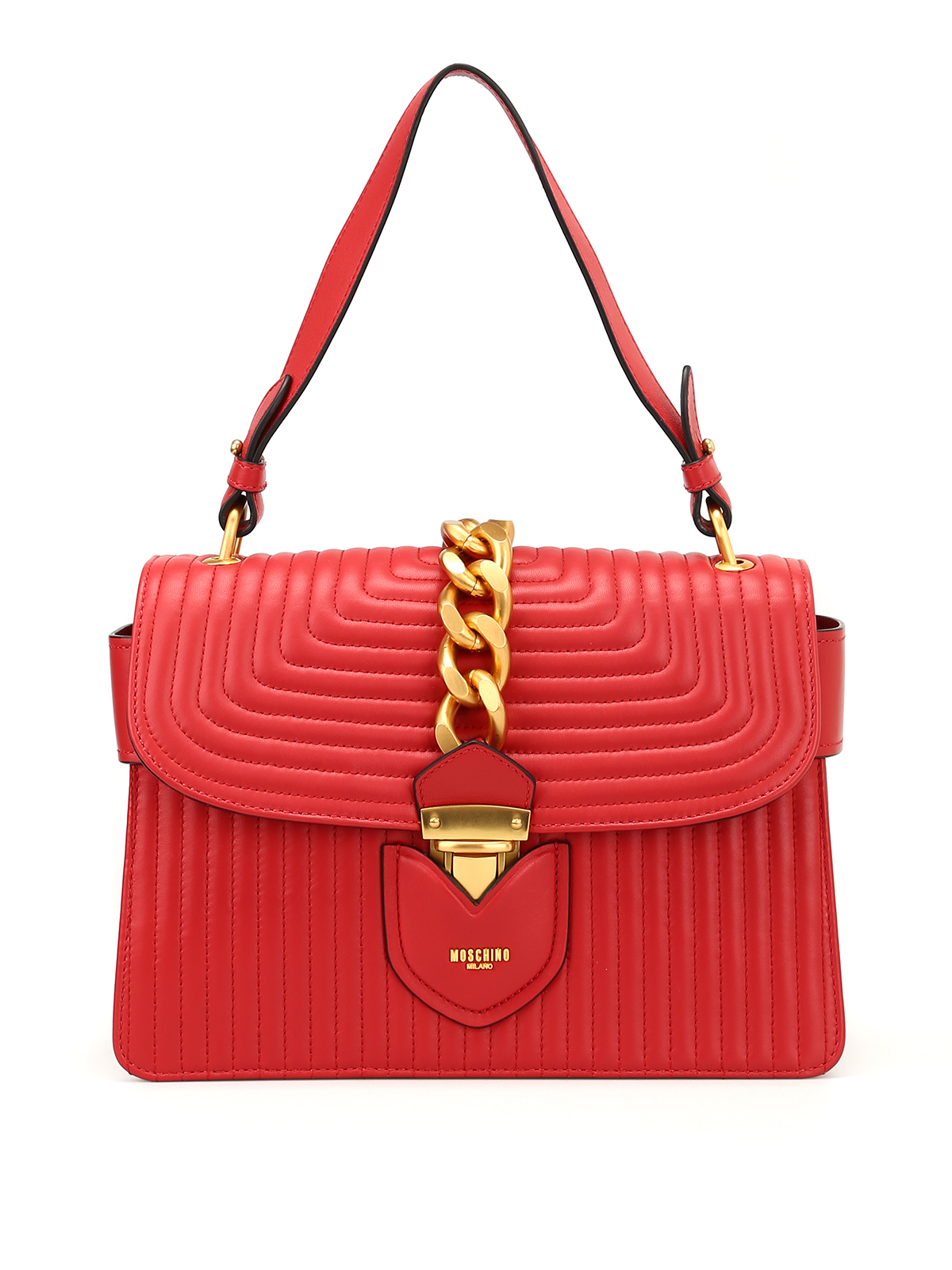Moschino Quilted leather golden chain bag HEqj8OoW