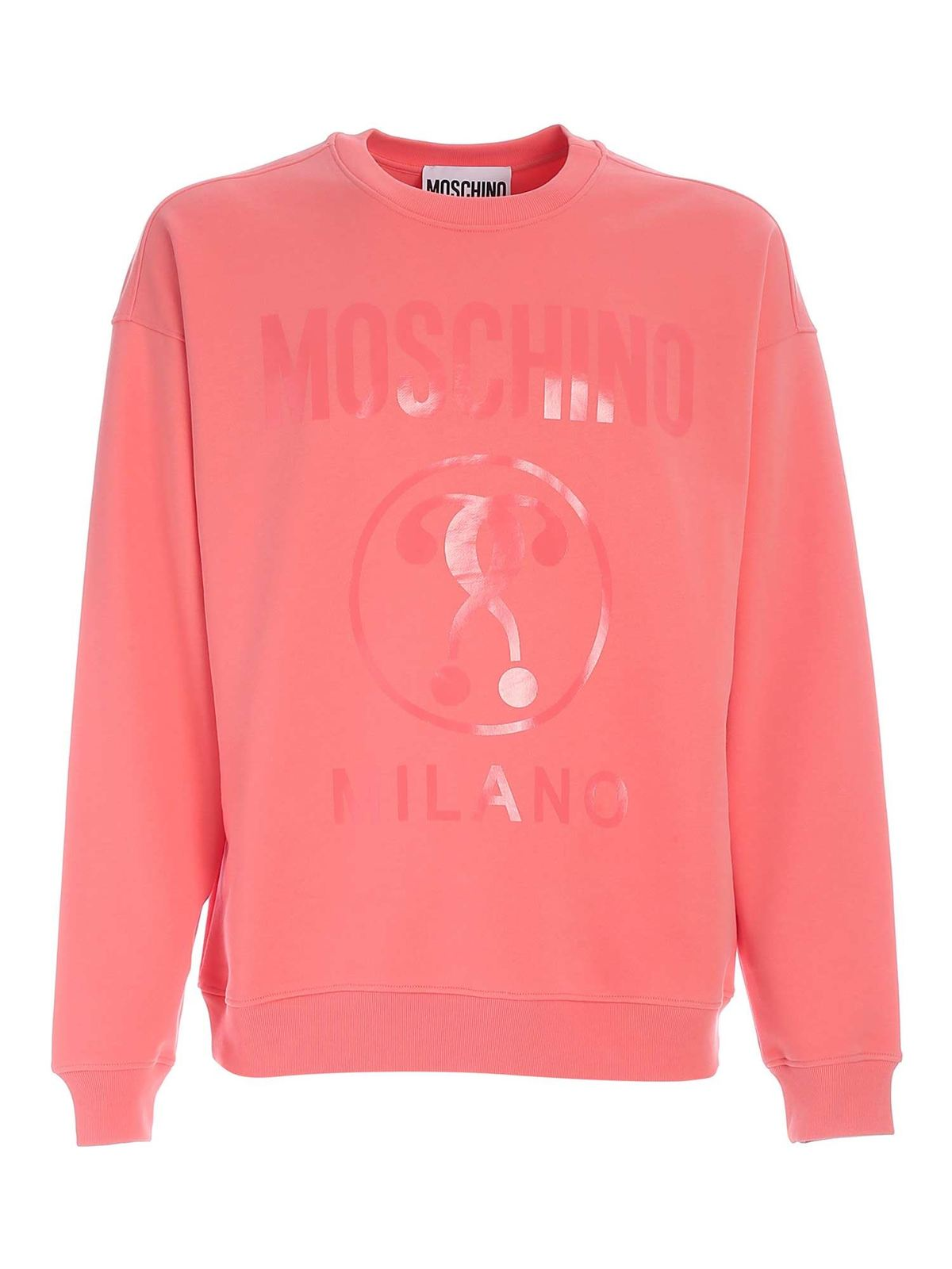 Moschino DOUBLE QUESTION MARK SWEATSHIRT IN PINK