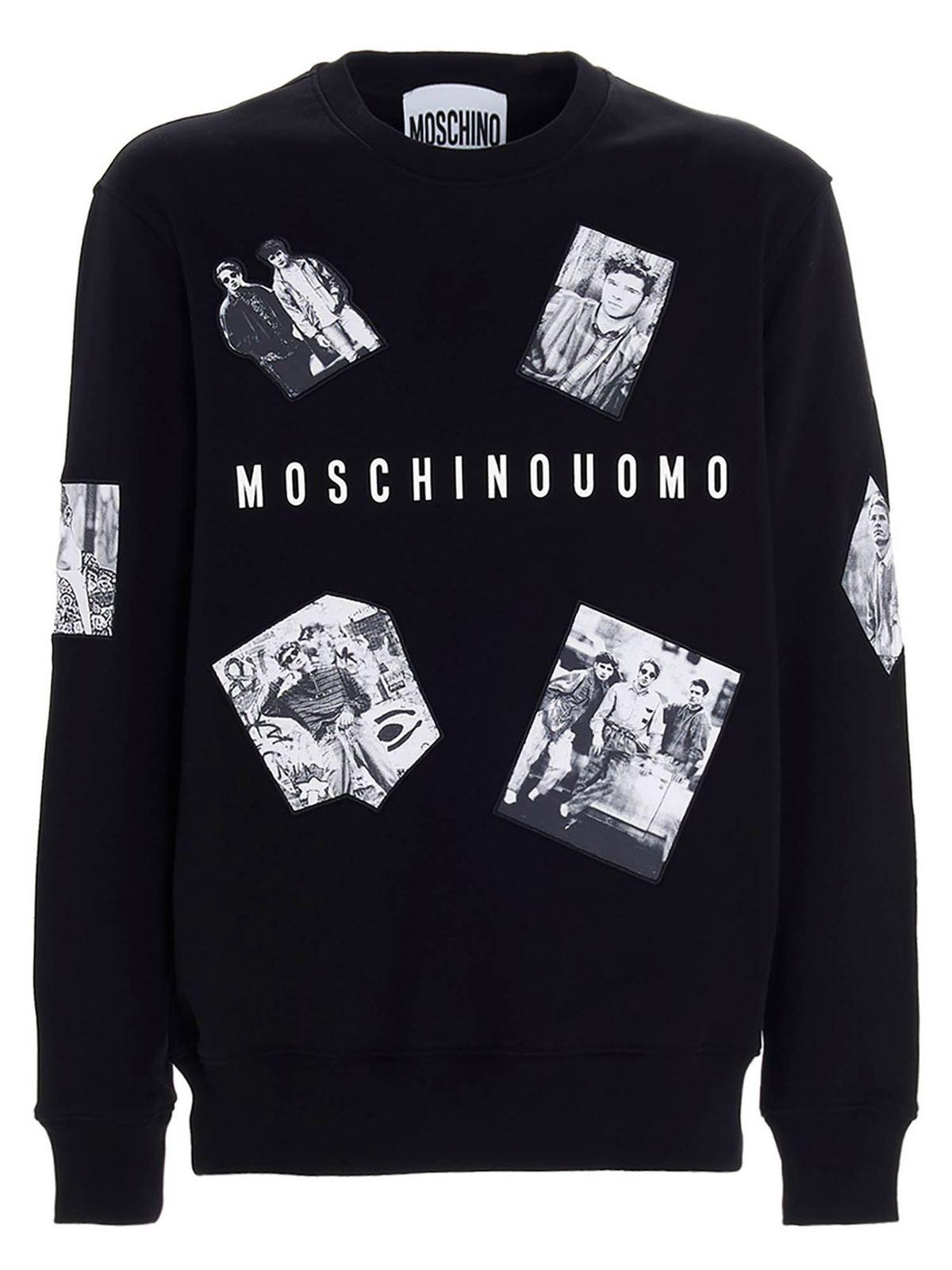 Moschino PHOTOGRAPHIC CHARACTERS SWEATSHIRT IN BLACK