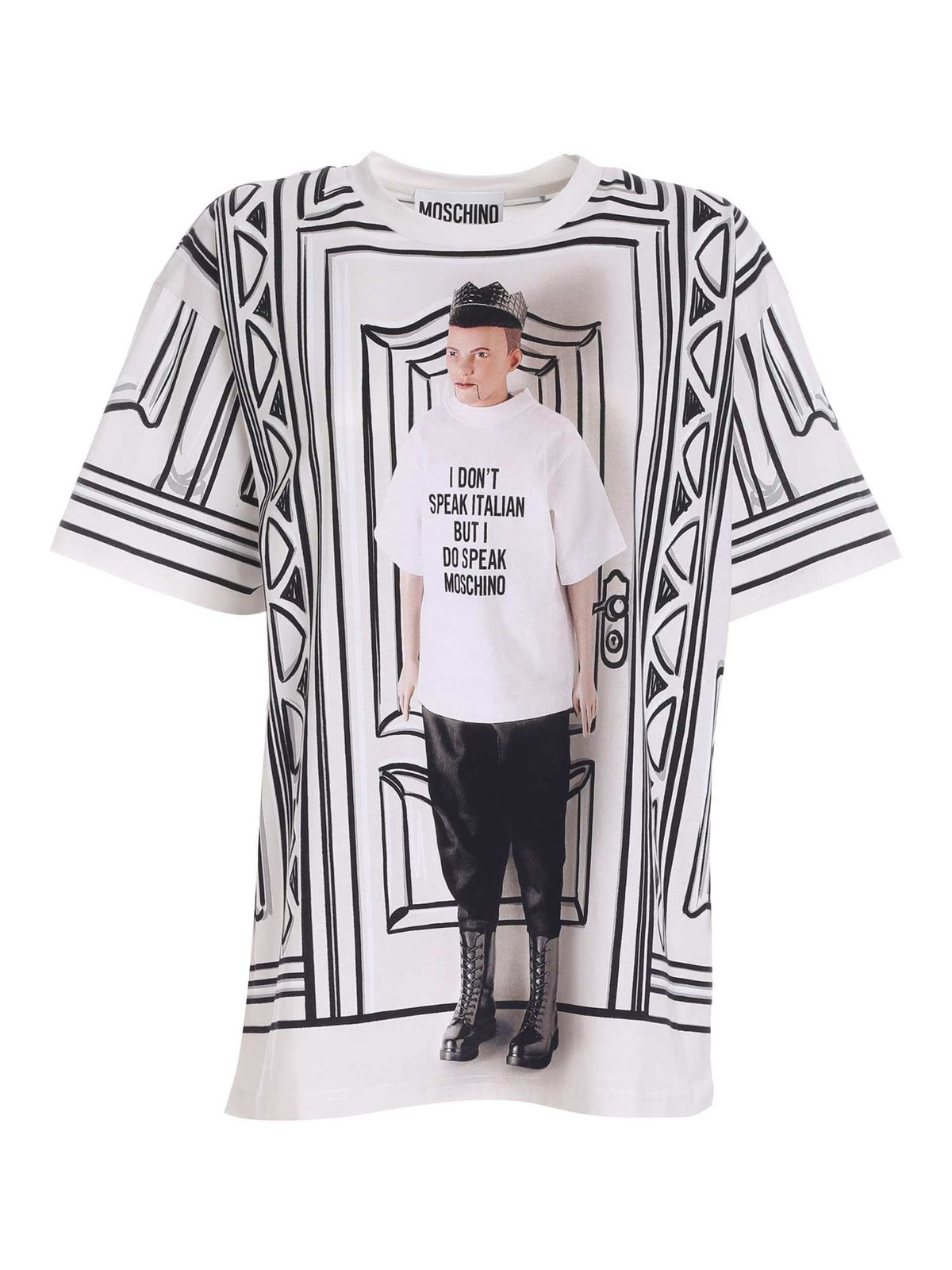 Moschino PRINTED T-SHIRT IN BLACK AND WHITE