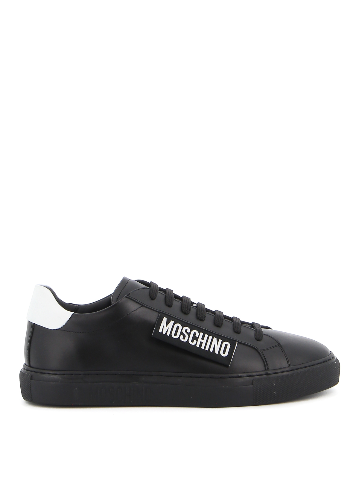Moschino Leathers MOSCHINO LABEL SMOOTH LEATHER SNEAKERS