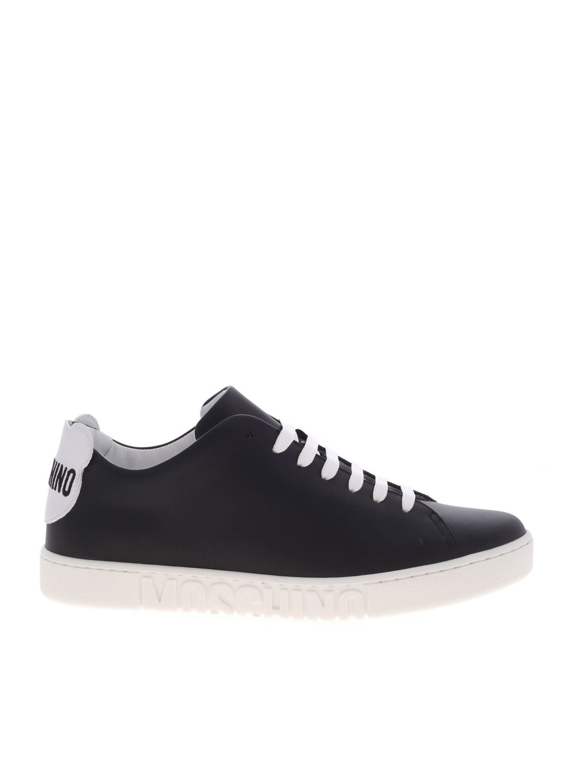 Moschino TEDDY LOGO AND PATCH SNEAKERS IN BLACK
