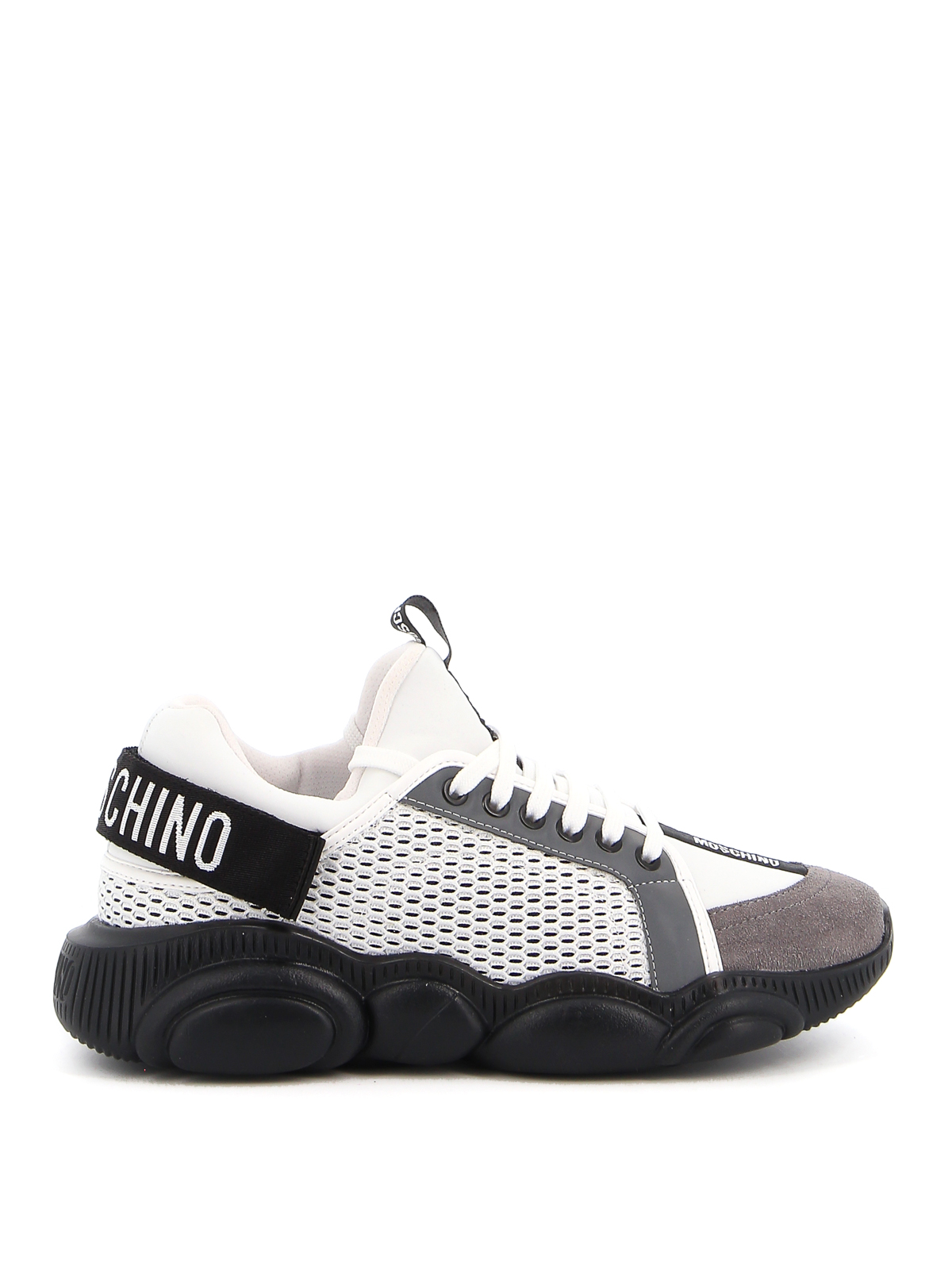 Moschino TEDDY MESH AND LAMINATED DETAIL SNEAKERS