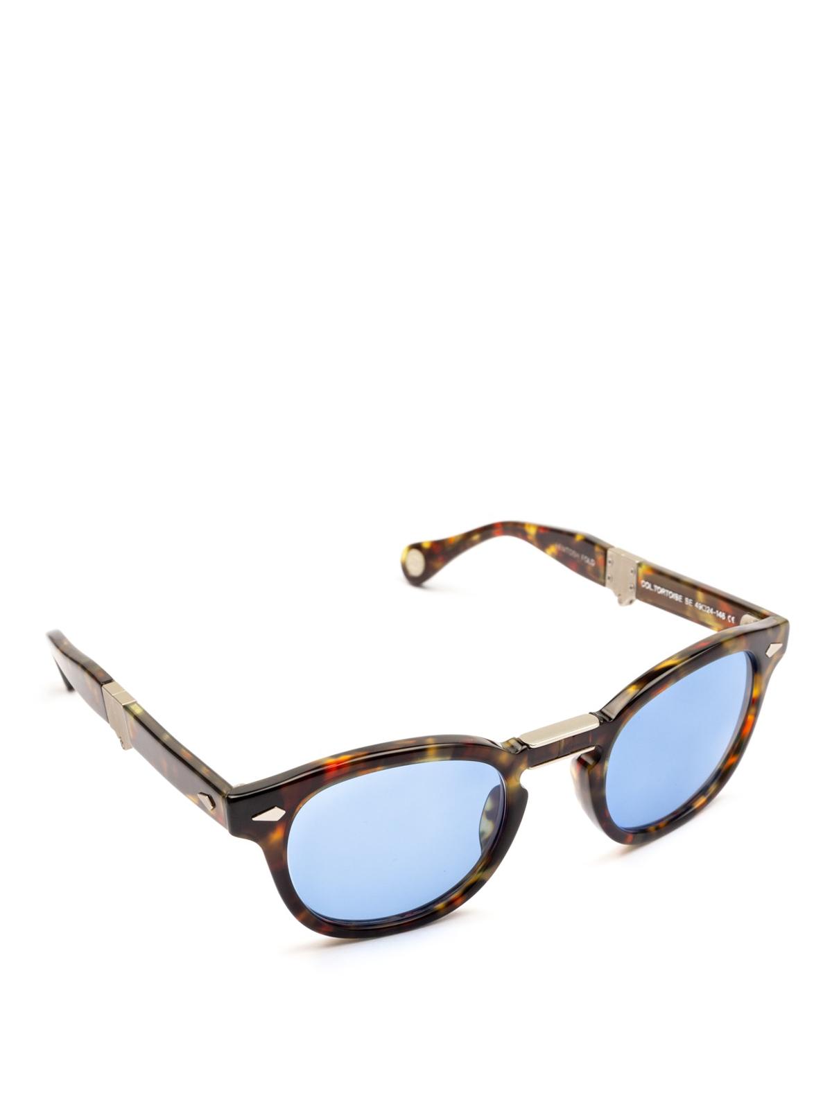 6c8d9d7f58 Moscot - Lemtosh Fold blue lens tortoise sunglasses - sunglasses ...