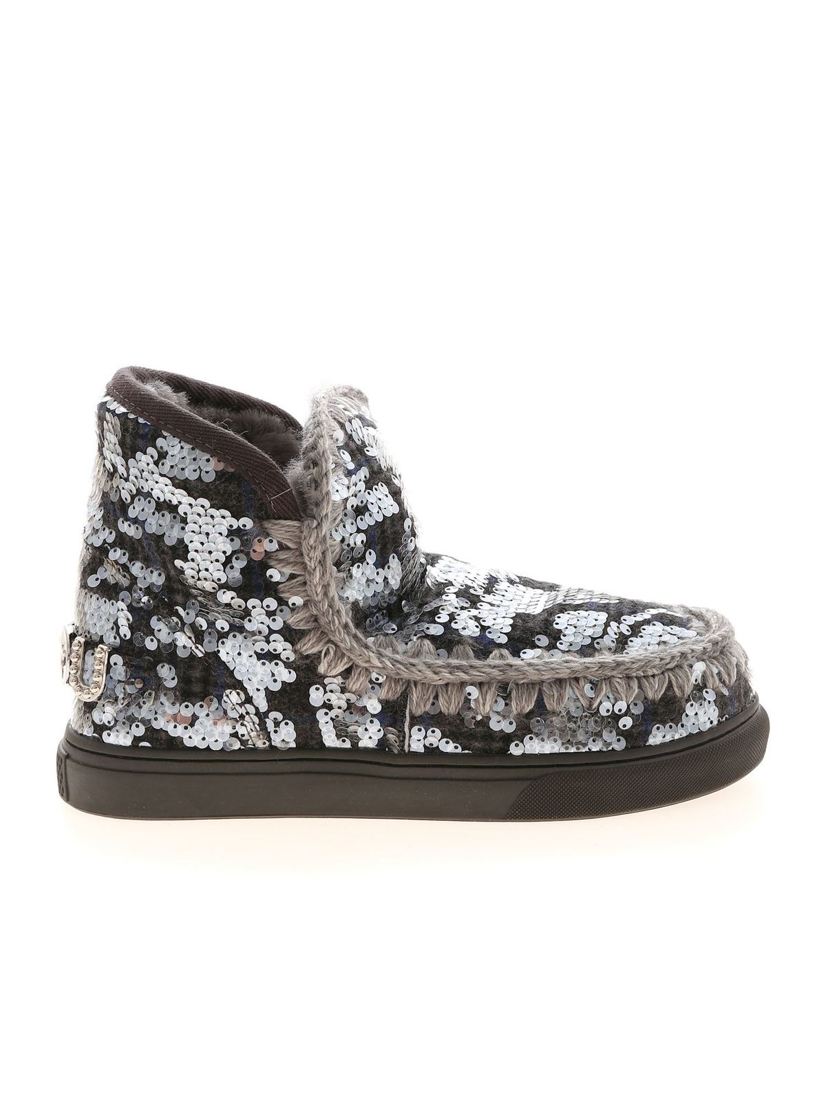 Mou WOOL PLAID AND SEQUINS SNEAKERS IN GREY