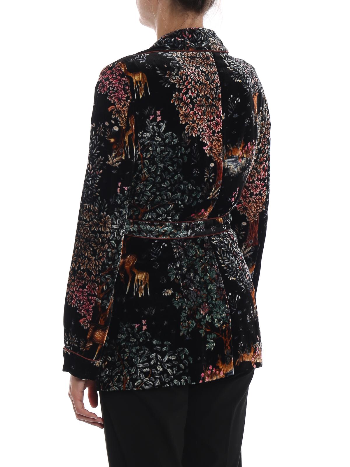 Multicolour printed velvet blazer by Alberta Ferretti ...