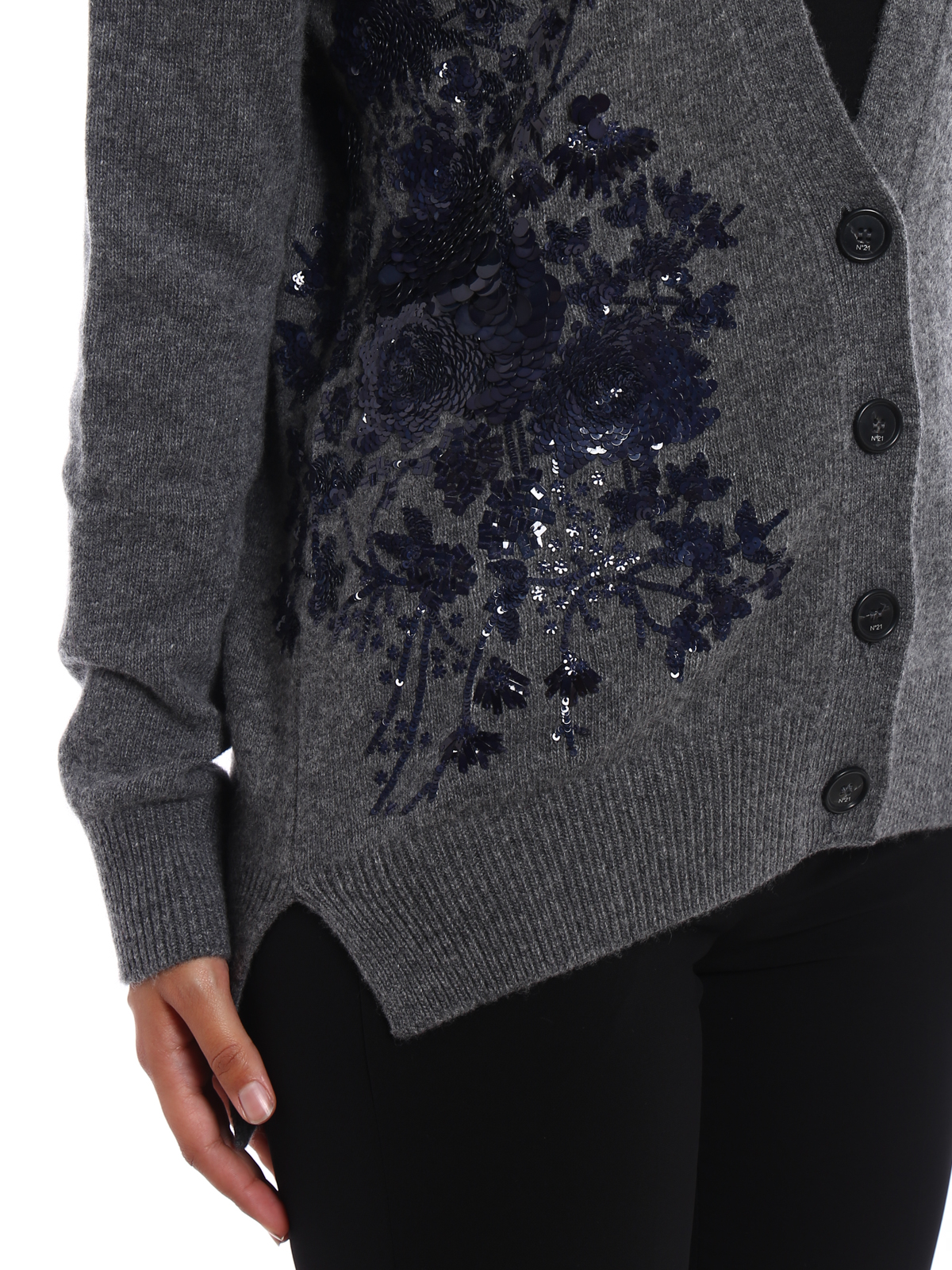 Floral embroidery wool cardigan by N°21 - cardigans | iKRIX