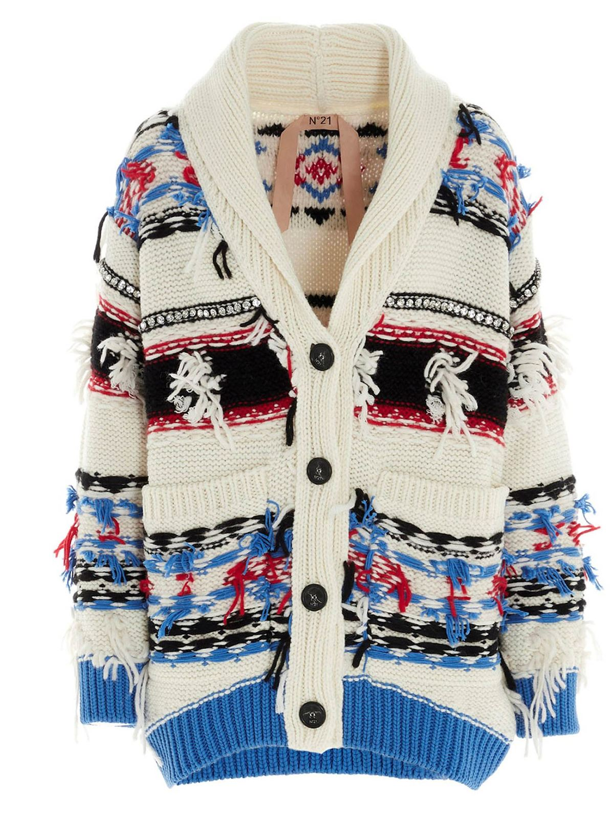 N°21 JACQUARD DECORATION CARDIGAN IN WHITE