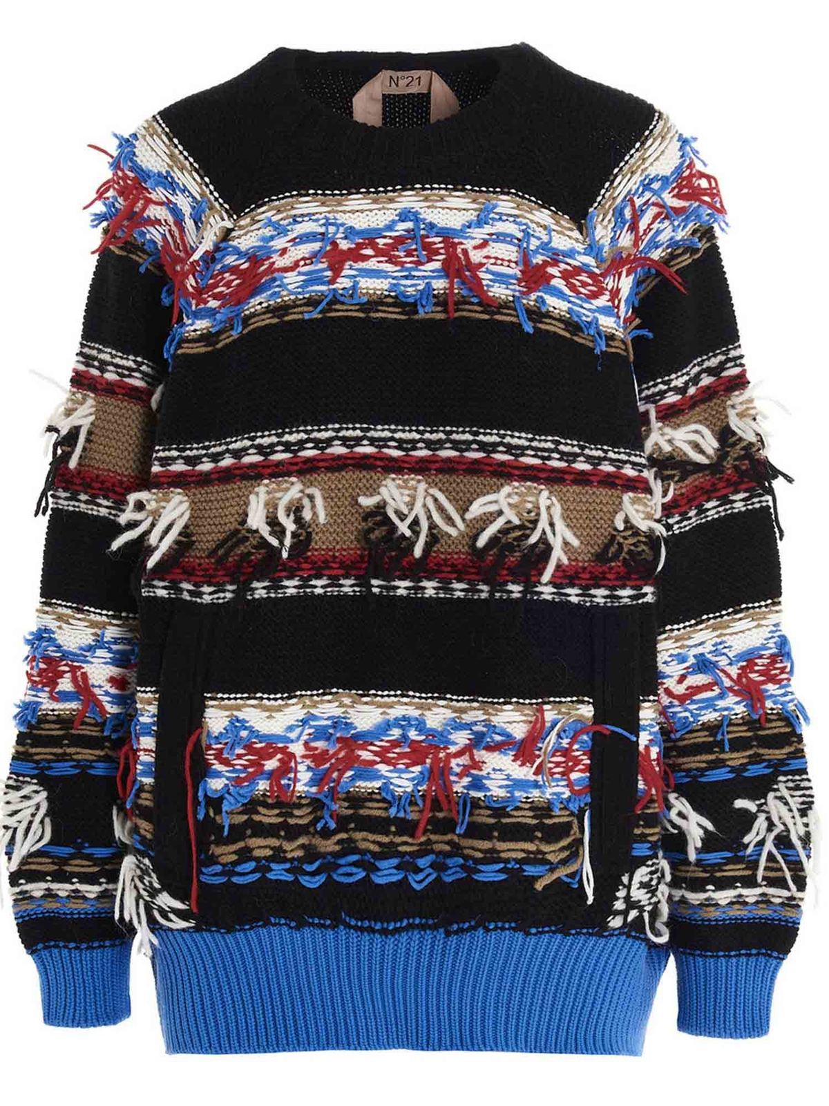 N°21 JACQUARD-EMBELLISHED PULLOVER IN MULTICOLOR