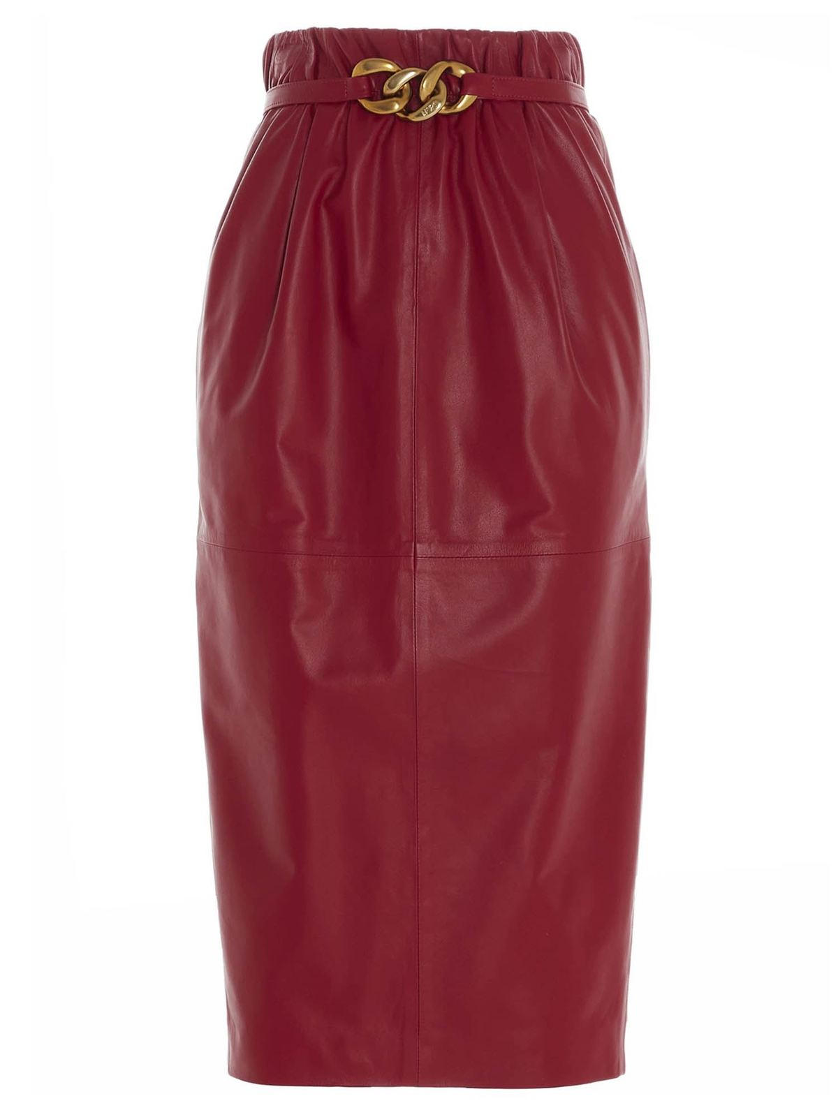 N°21 BELT PENCIL SKIRT IN RED