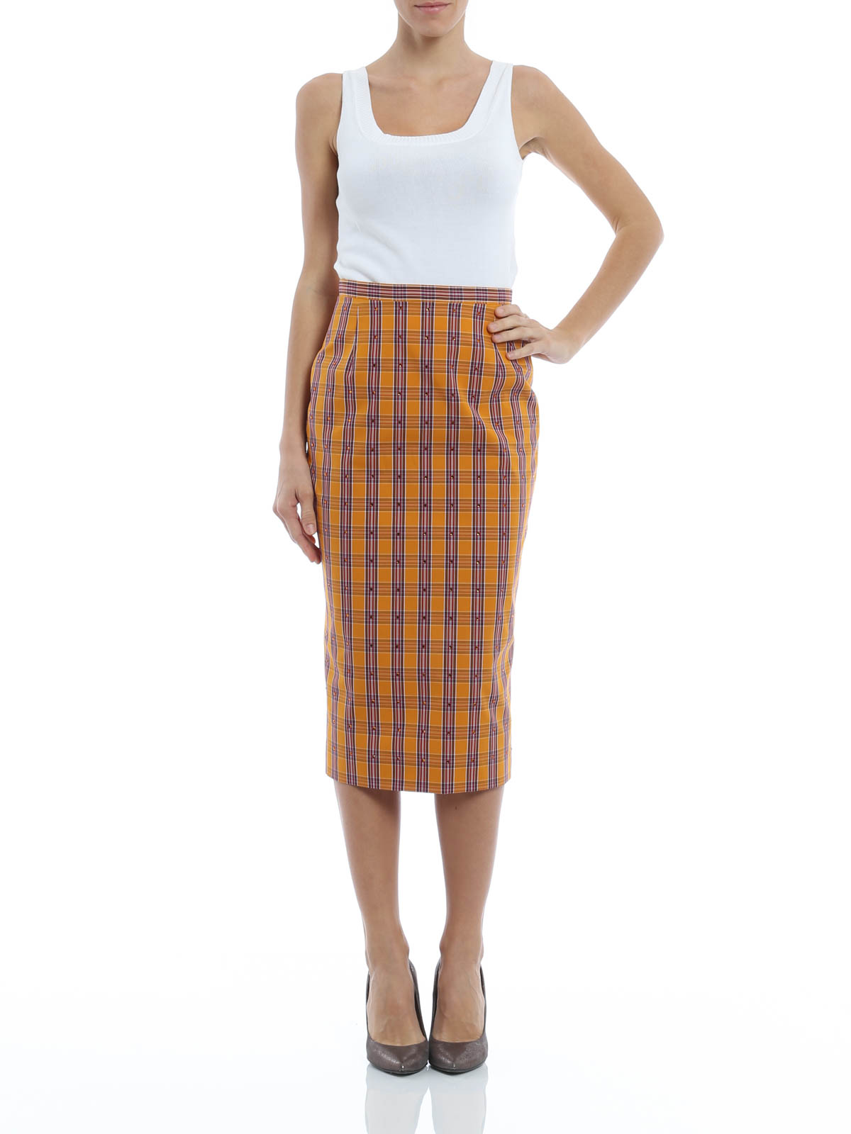 tartan pencil skirt by n 176 21 knee length skirts midi