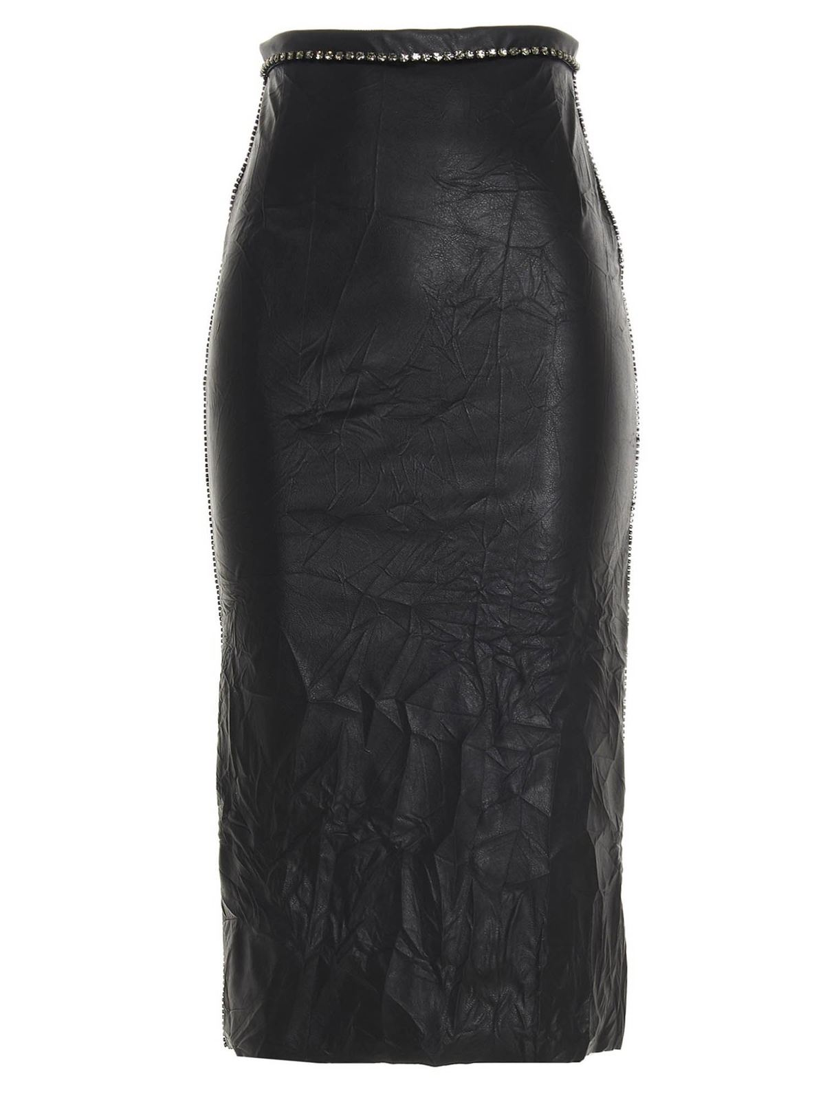 N°21 RHINESTONES CRACKLE PENCIL SKIRT IN BLACK