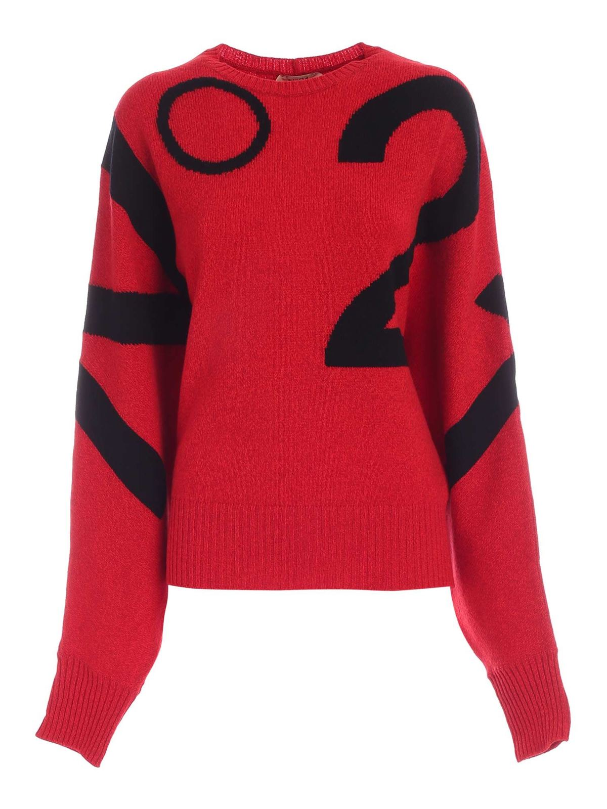 N°21 BLACK PATTERN PULLOVER IN RED