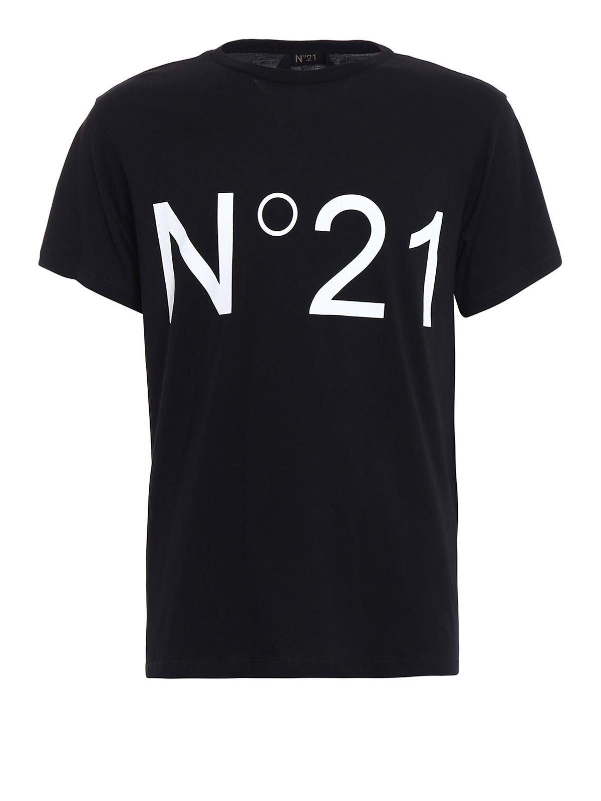 Logo print black cotton tee by n 21 t shirts ikrix for Print logo on shirt