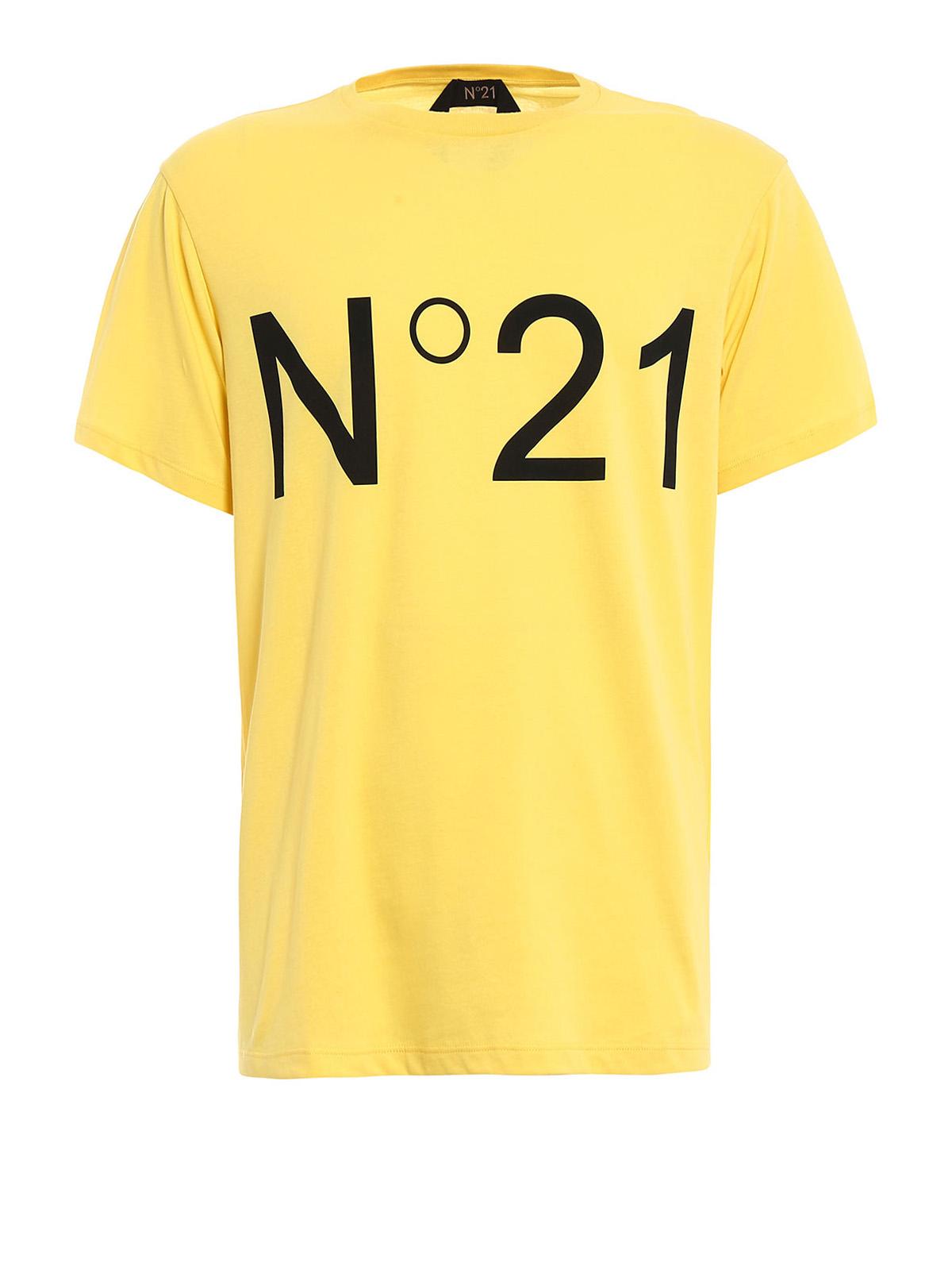 Logo print yellow cotton tee by n 21 t shirts ikrix for Print logo on shirt