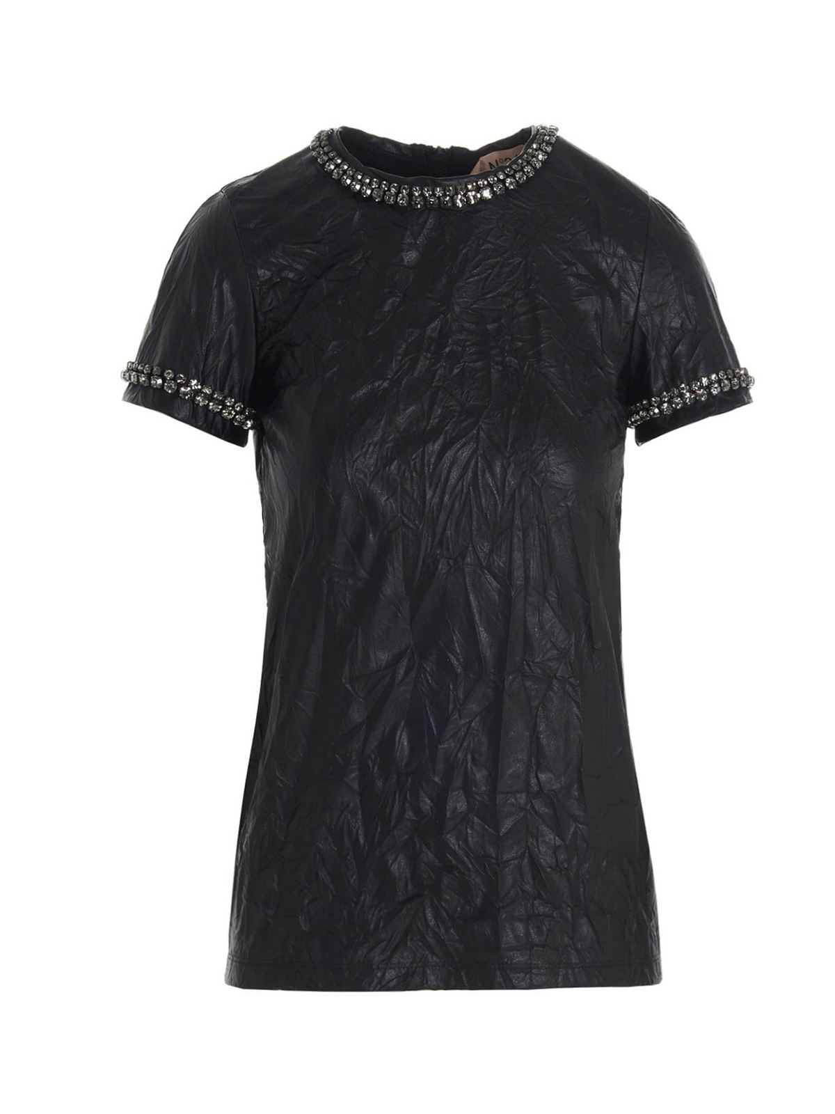 N°21 CRACKLE EFFECT TOP IN BLACK