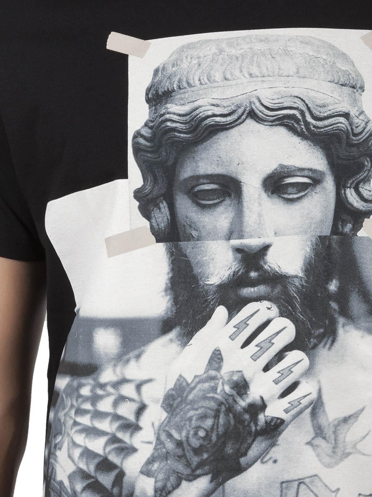 tattooed statue print t shirt by neil barrett t shirts