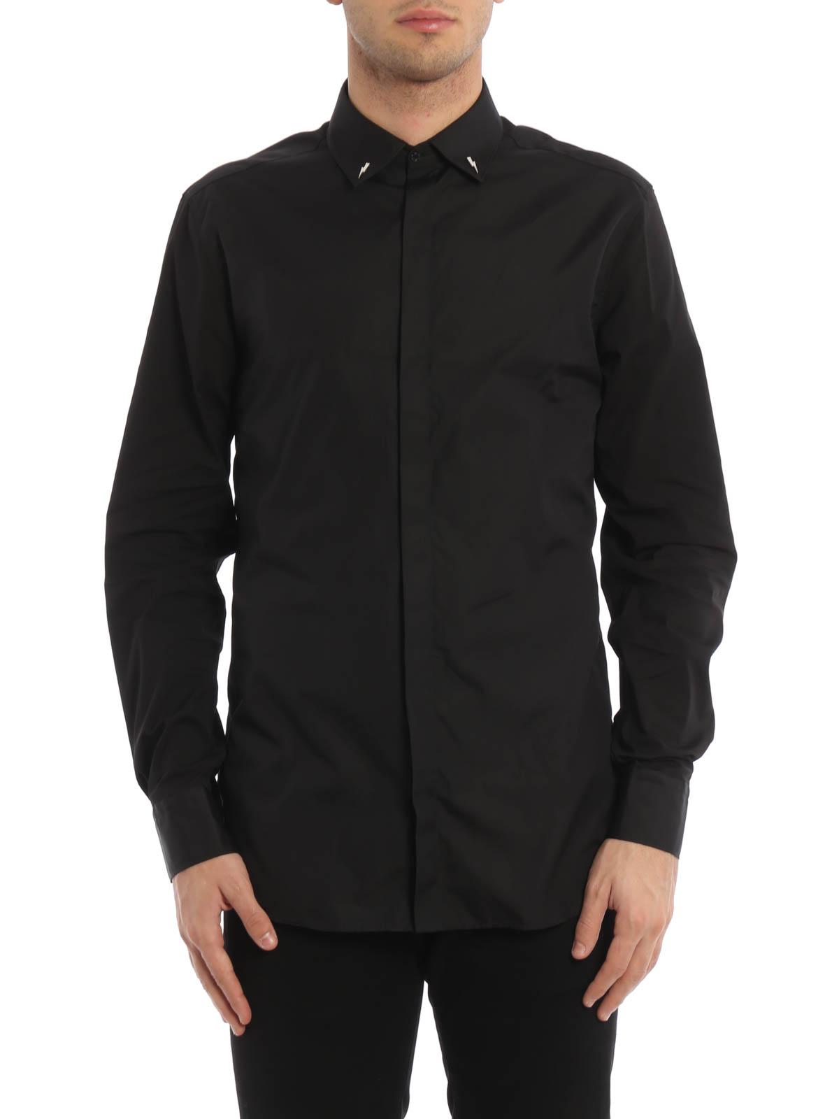 b57c2e033f555 Neil Barrett - Camisa Negra Para Hombre - Camisas - PBCM527SB008C01