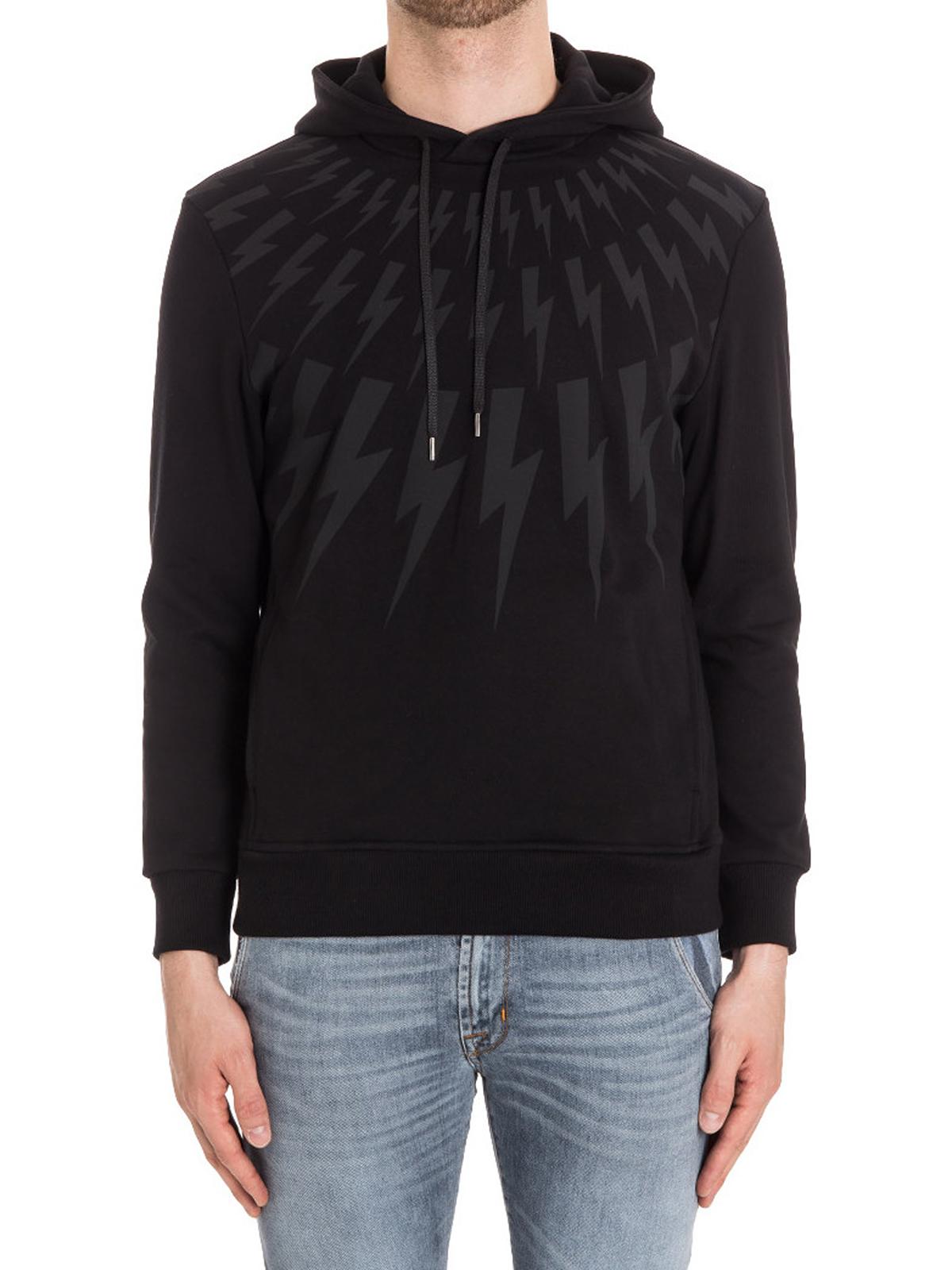 9576a2b59bb2 NEIL BARRETT  Felpe e maglie online - Felpa nera con stampa fulmini