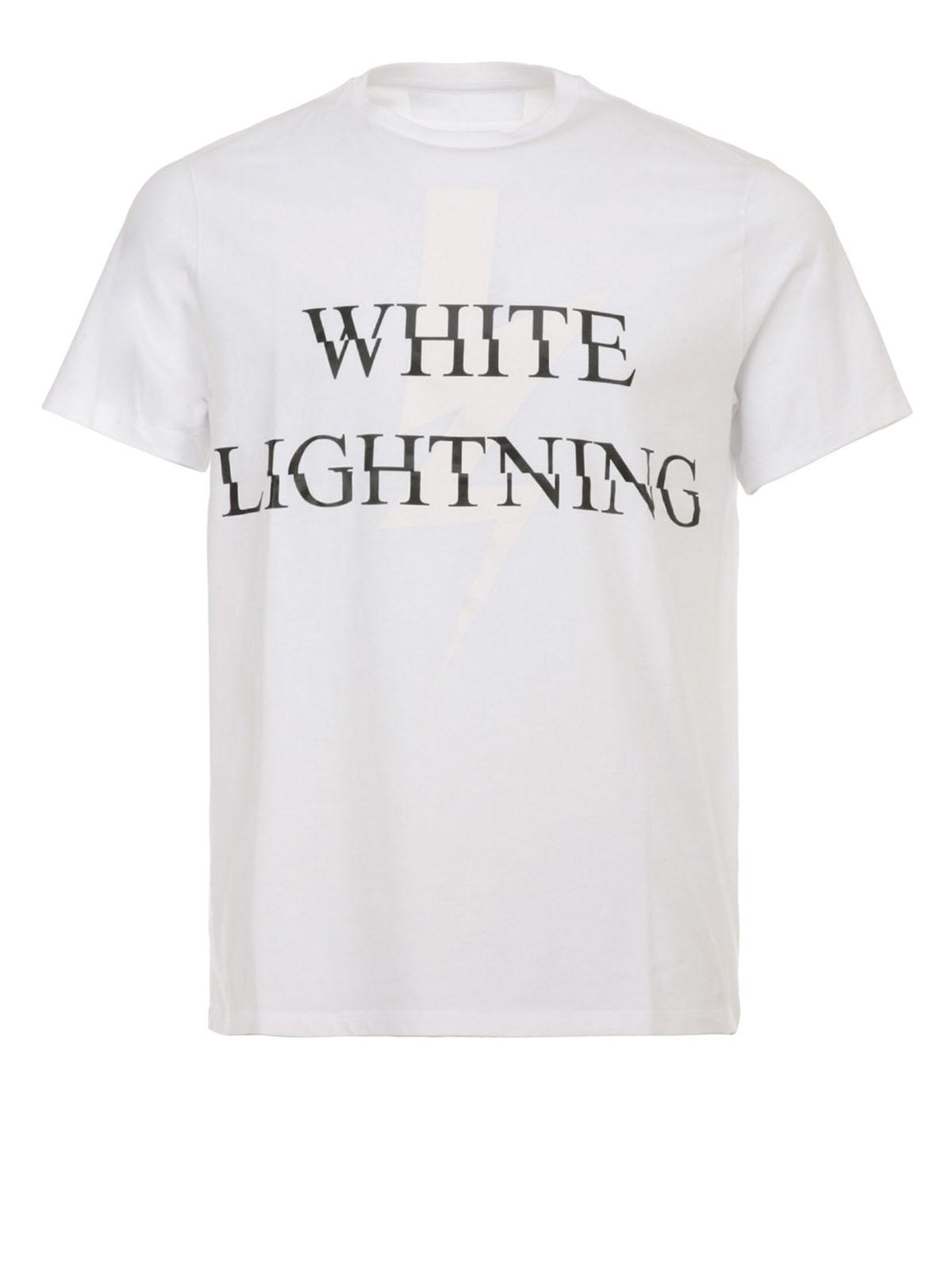White lightning print t shirt by neil barrett t shirts for White t shirt printing