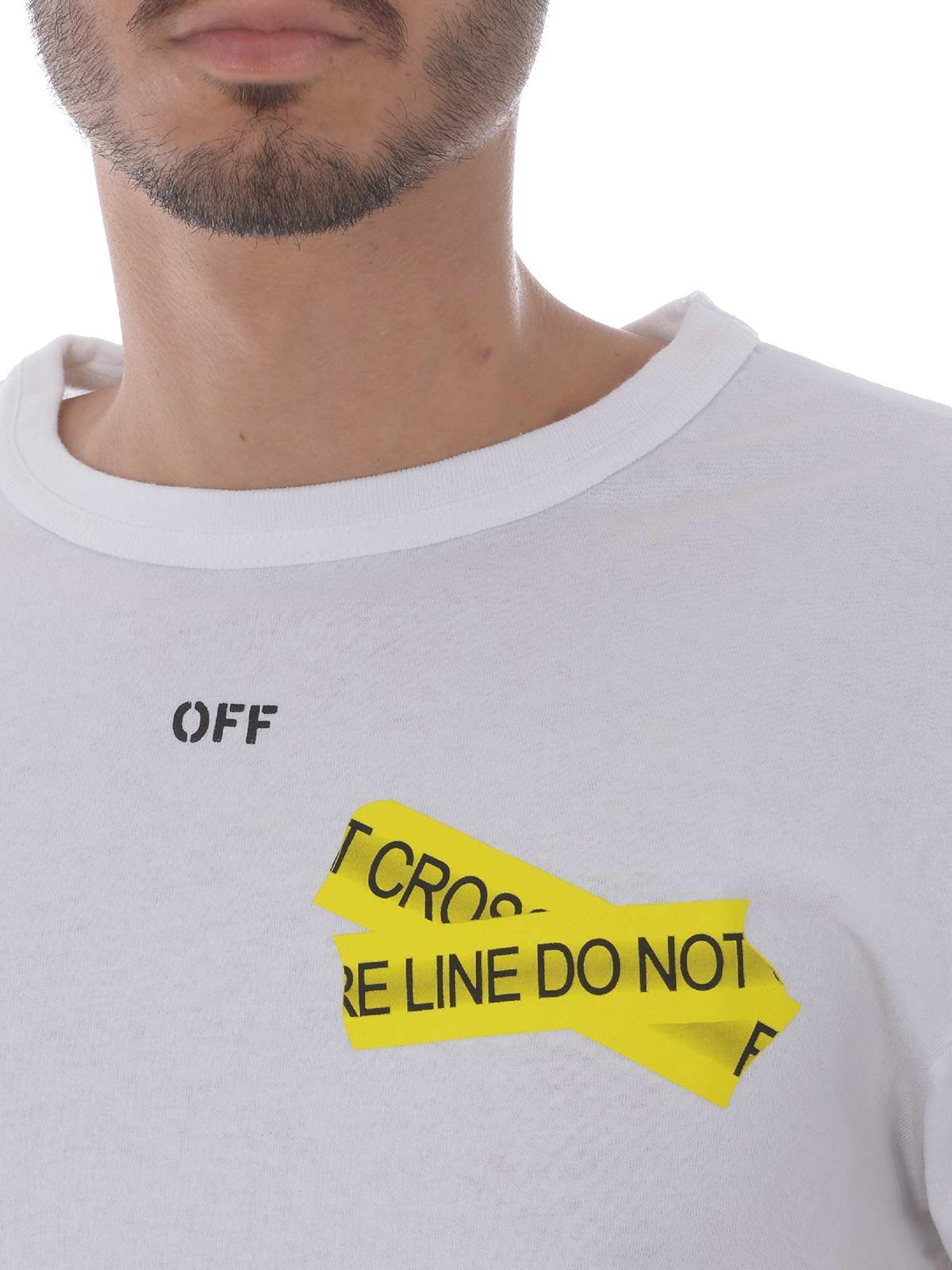 Off-White - Firetape white T-shirt - t-shirts - OMAA002S181850060160 451deec7c0a8
