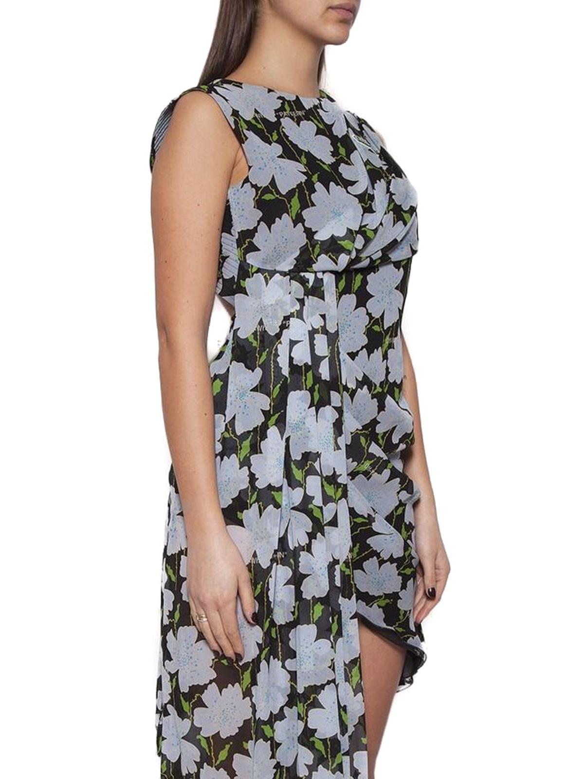49901de539e7 Off-White - Floral print silk asymmetric dress - cocktail dresses ...