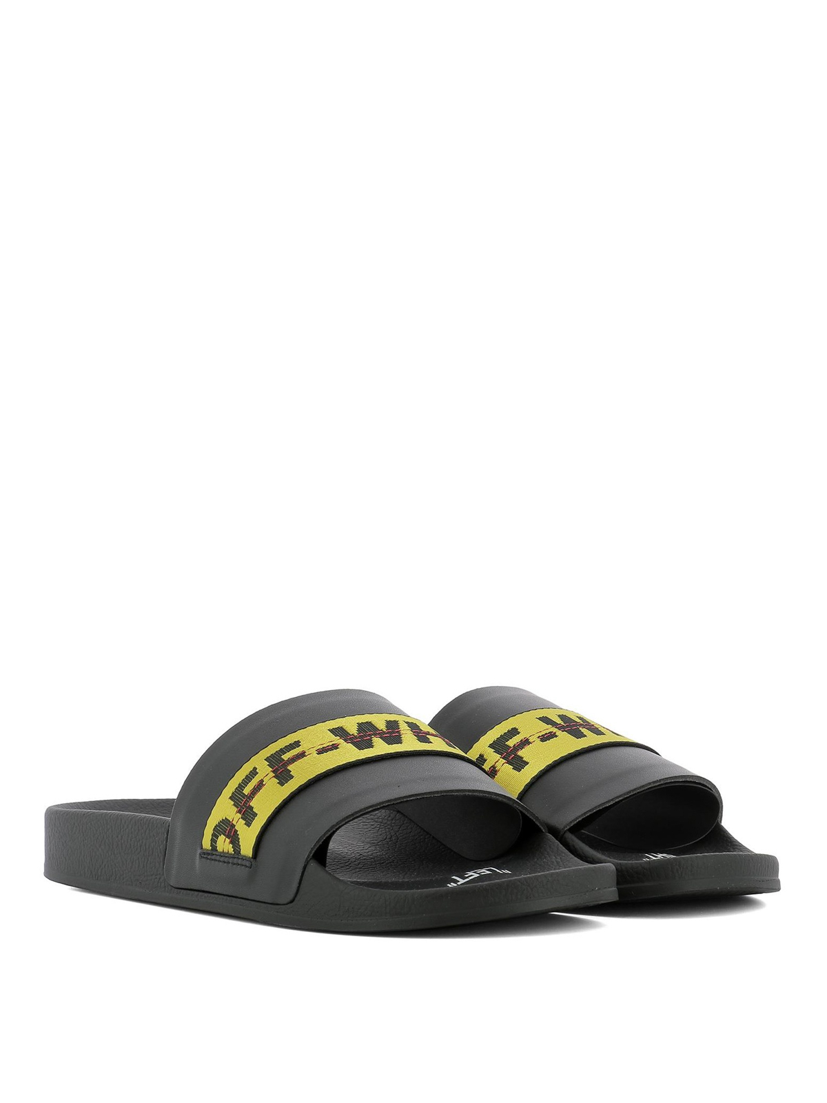 a7828ef8656 Off-White - Industrial leather sliders - sandals - OMIA088E18A450011000
