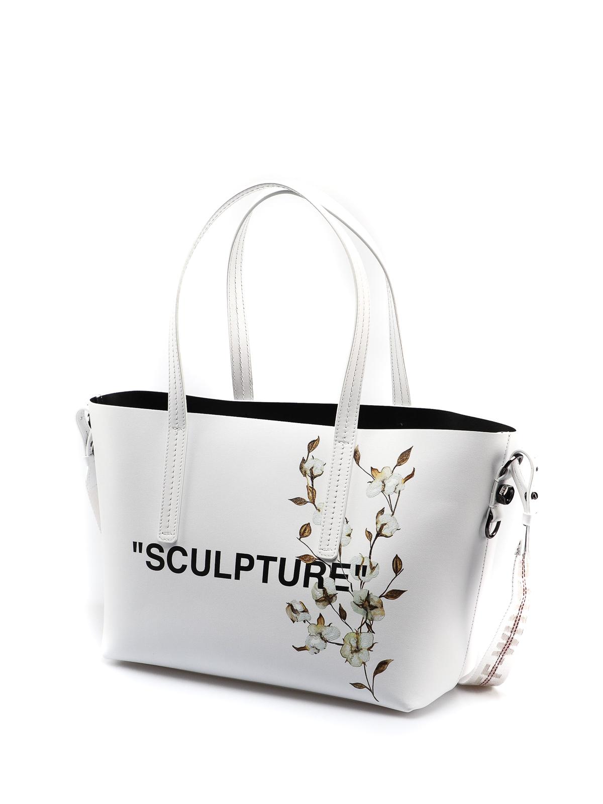 Off White Shopper in pelle con stampa fiori shopper