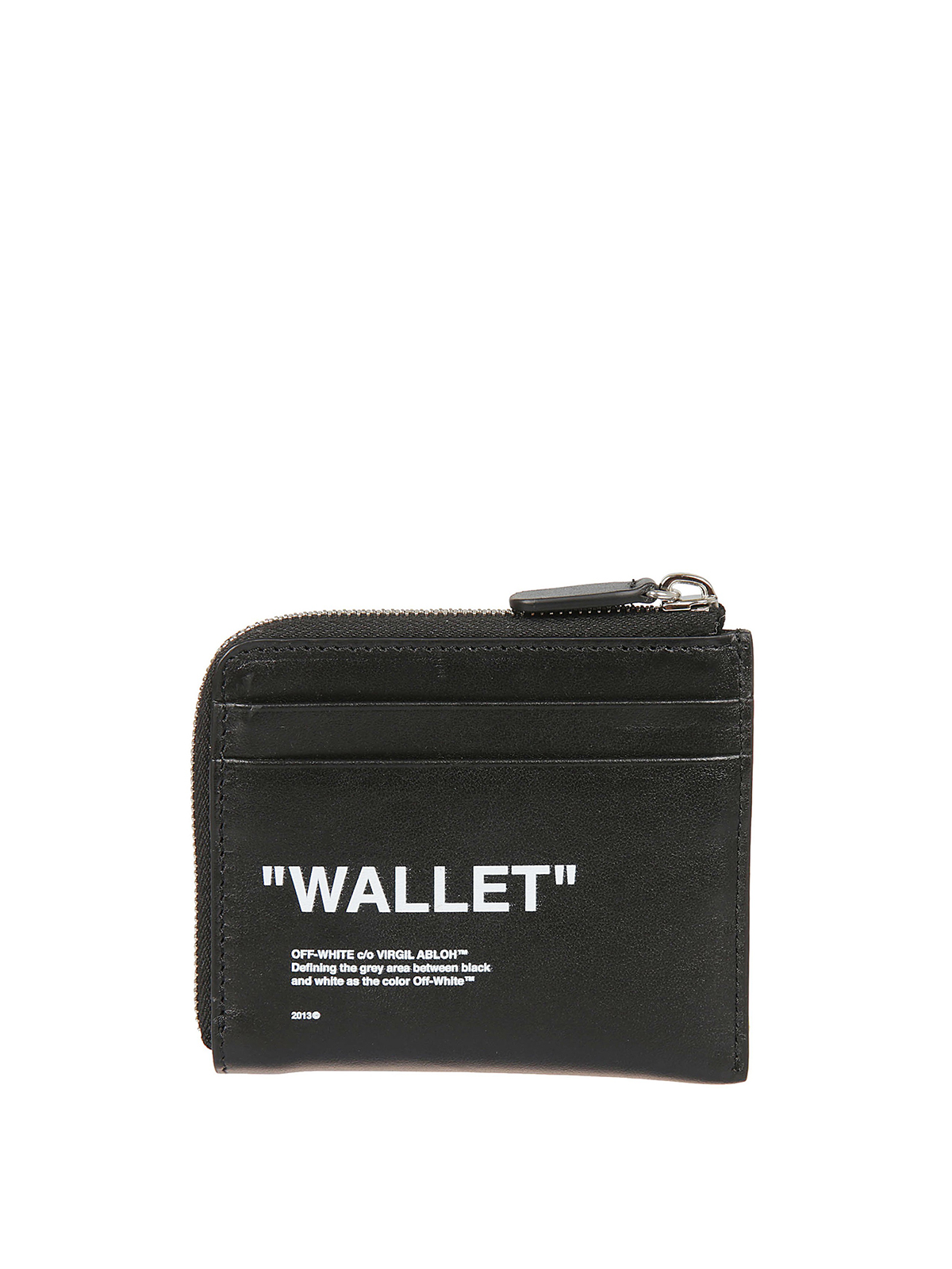 Off White Quotes Black Leather Wallet Wallets Purses