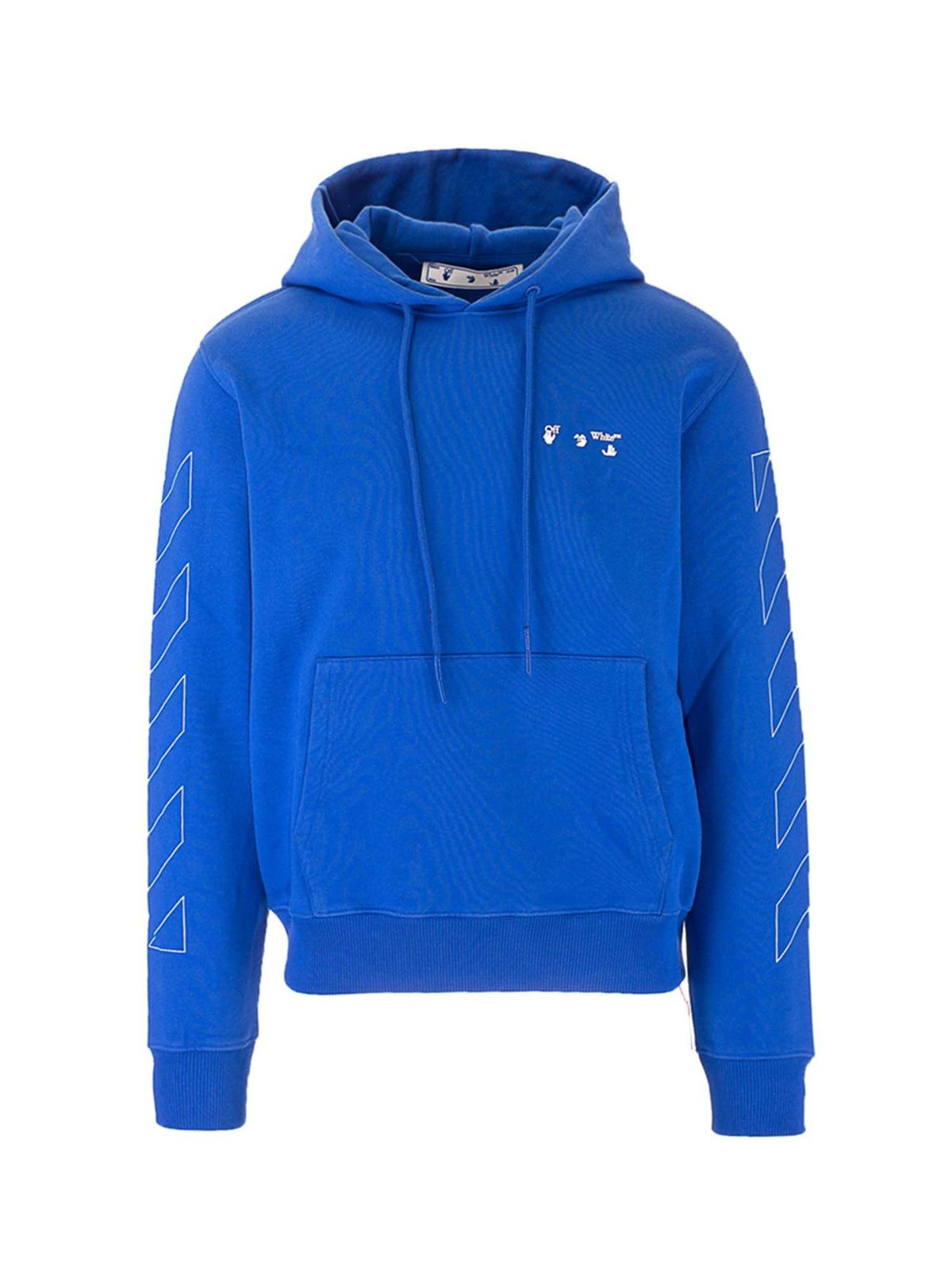 Off-White Cottons DIAG LOGO HOODIE IN BLUE