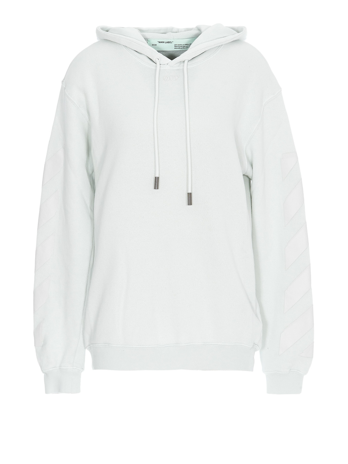 Off-White Striped Inserts White Cotton Hoodie In Green