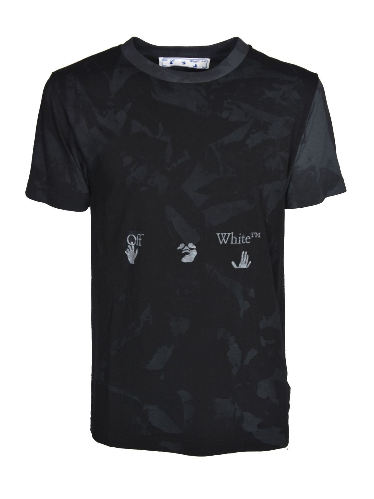 Off-White Cottons TIE DYE T-SHIRT IN BLACK AND GREY