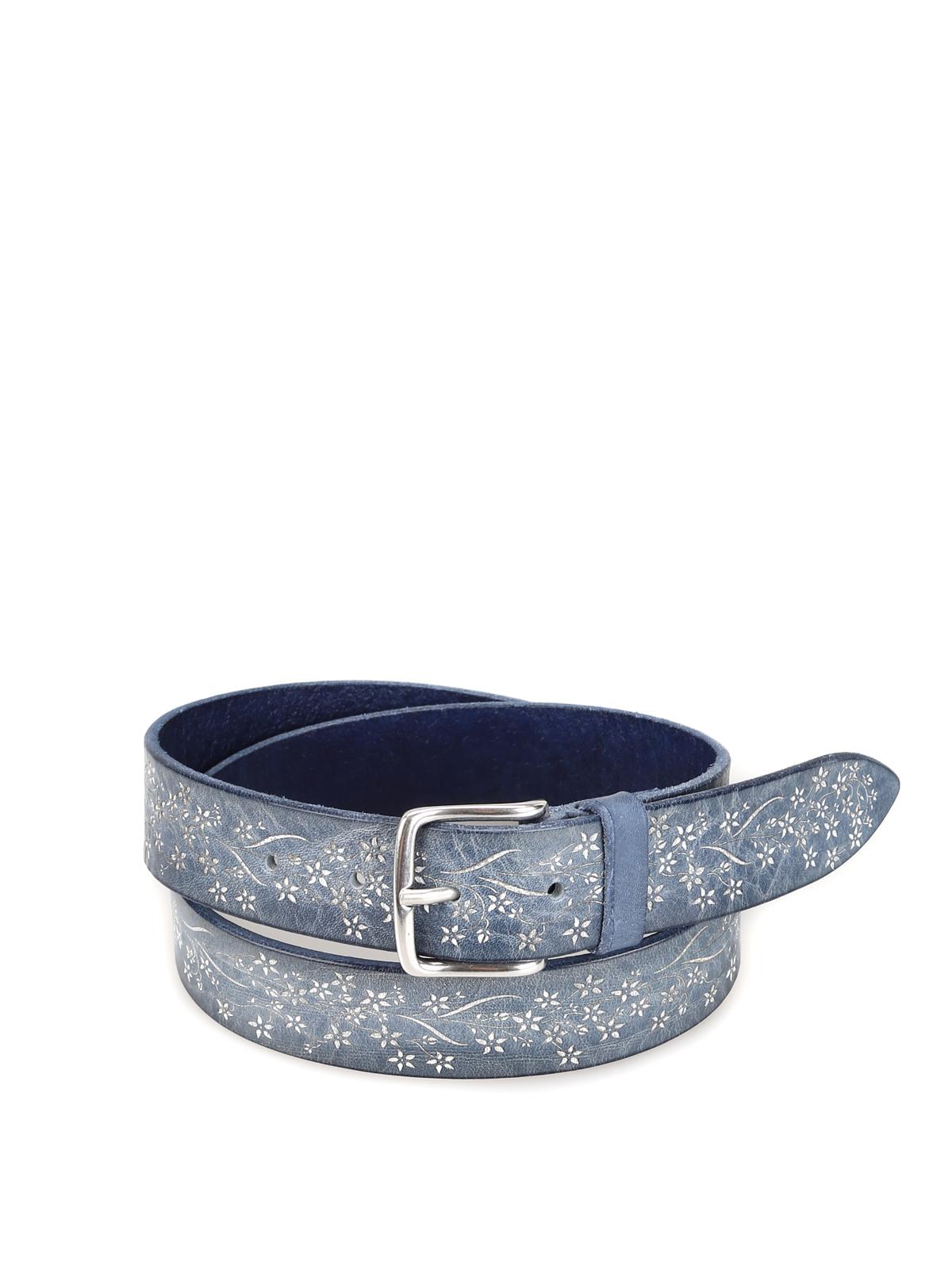 nuovo concetto f27a8 8d83f Orciani - Cintura in pelle blu con motivo a fiori - cinture ...
