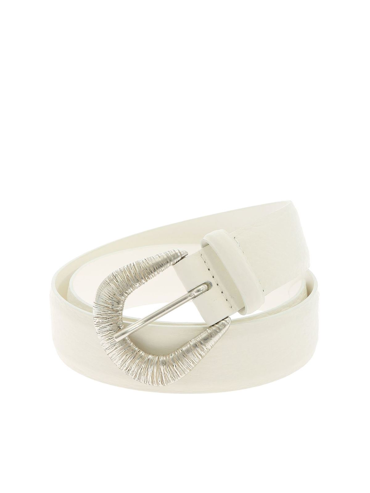 Orciani SOFT BELT IN WHITE WITH STRIPED EFFECT BUCKLE
