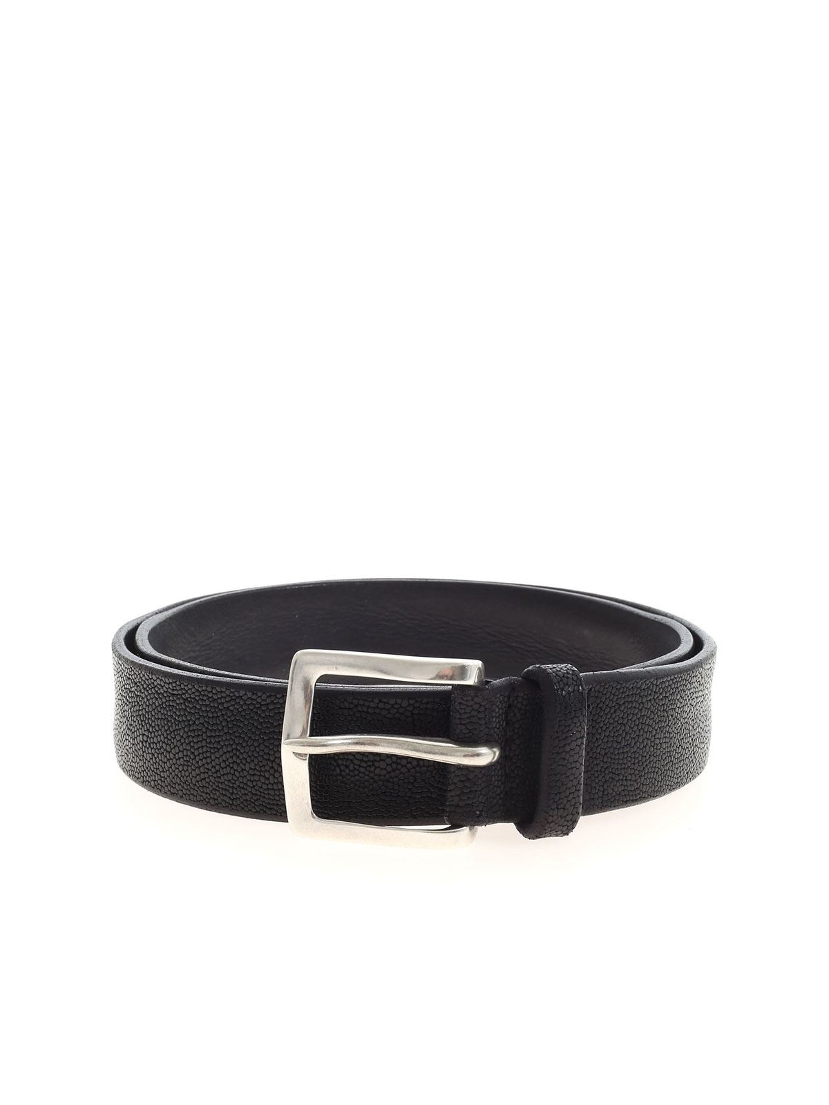 Orciani TEXTURED LEATHER BELT IN BLACK