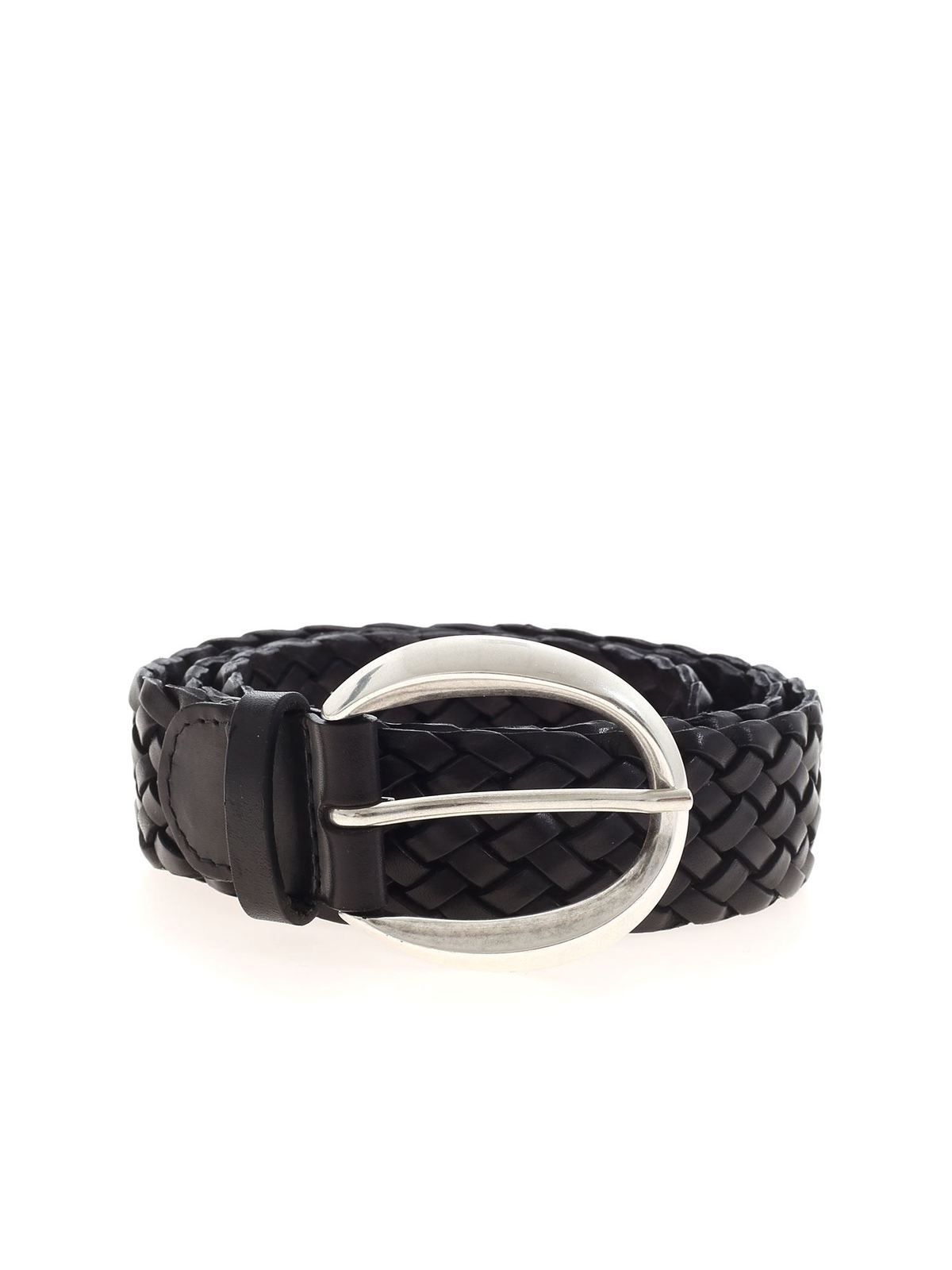 Orciani WOVEN LEATHER BELT IN BLACK