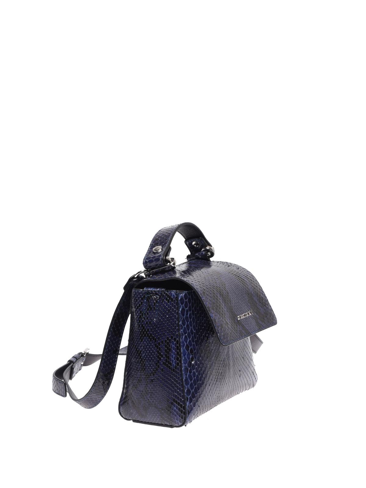 dd20f072f8 ORCIANI: borse a tracolla online - Borsa Sveva Mini in pitone blu