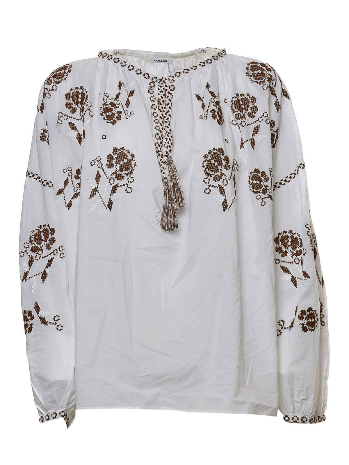 P.A.R.O.S.H. EMBROIDERED BLOUSE IN WHITE