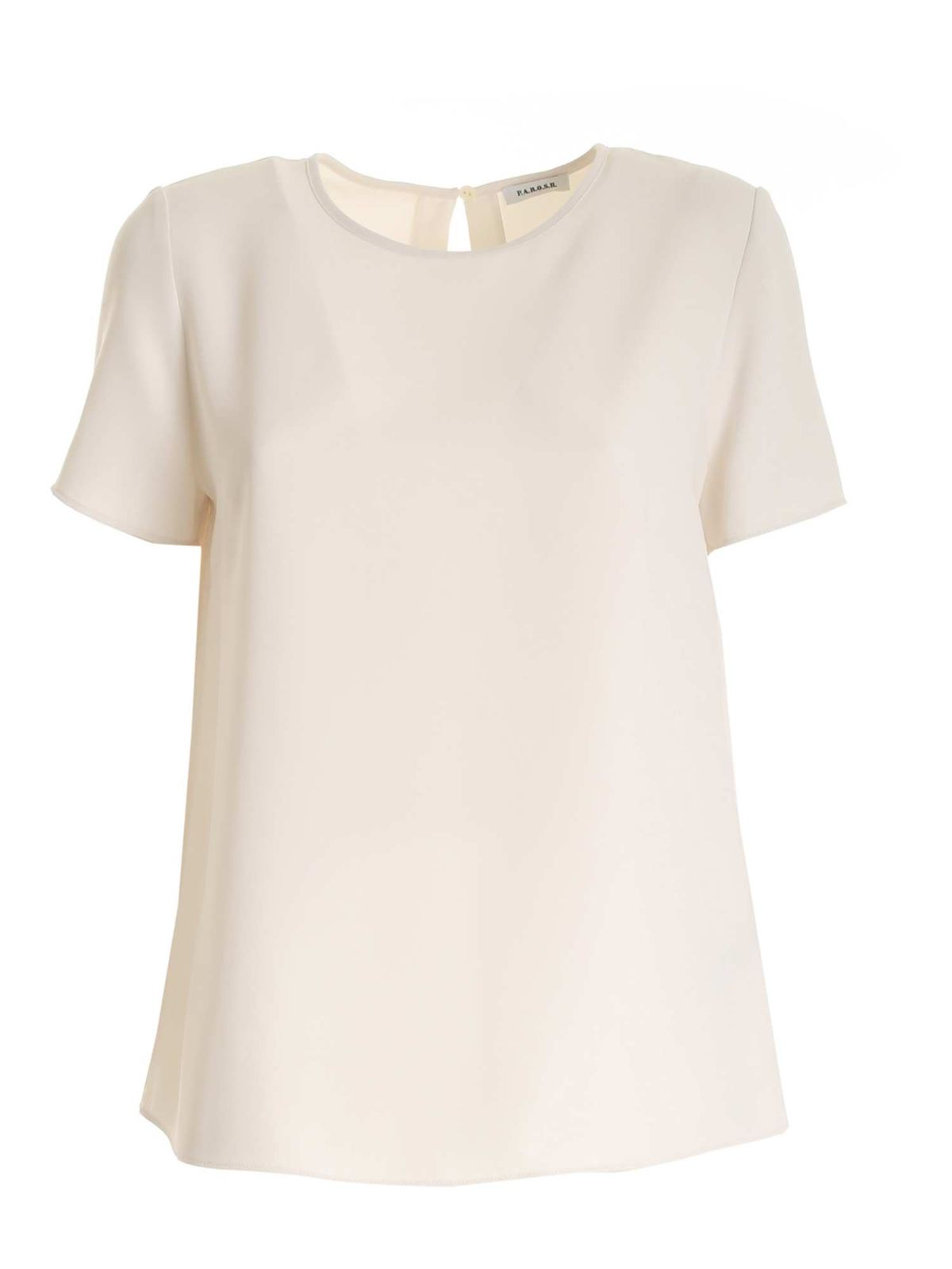 P.a.r.o.s.h. LOOSE FIT BLOUSE IN IVORY CADY