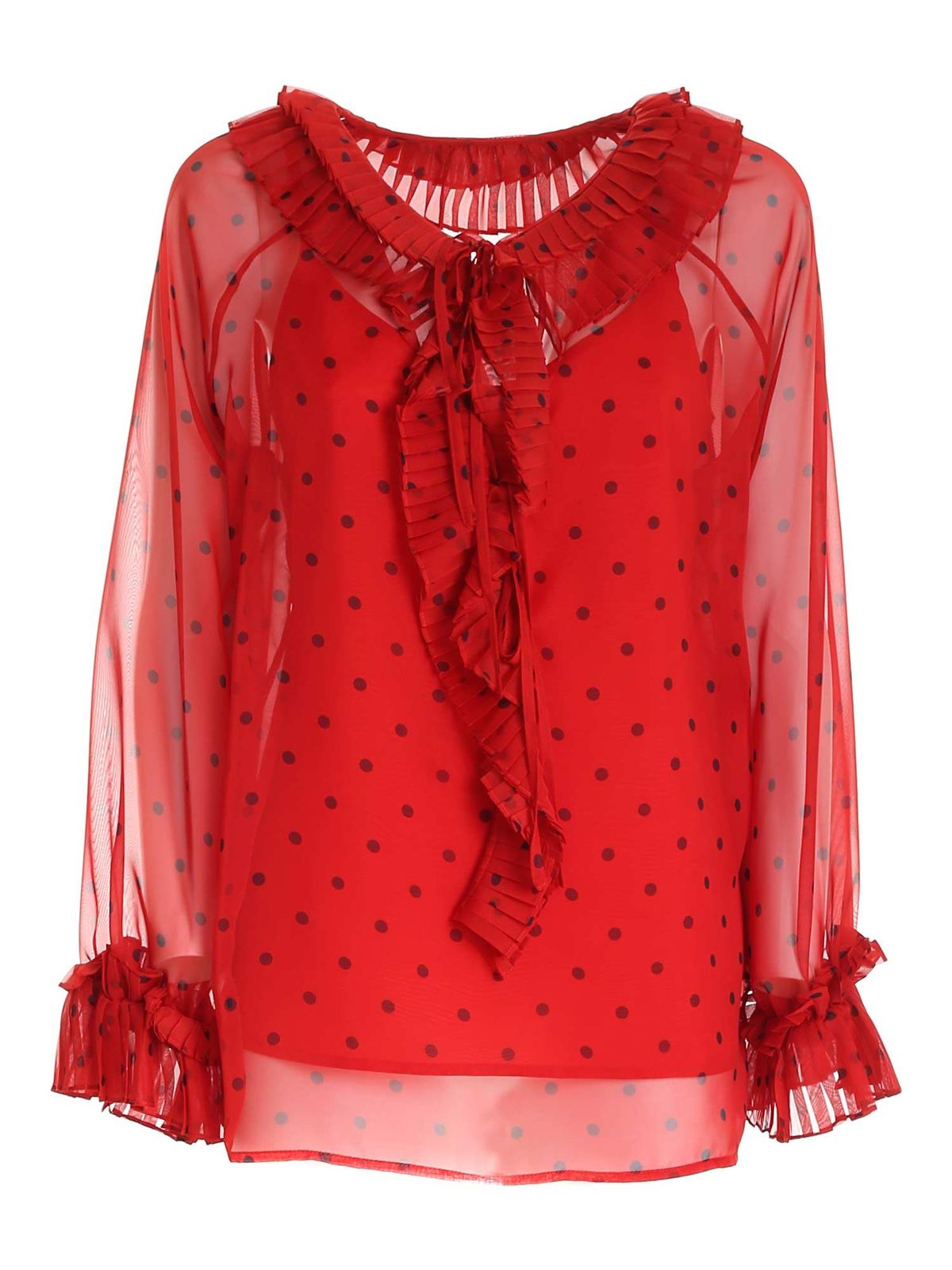 P.a.r.o.s.h. POLKA DOT BLOUSE IN RED