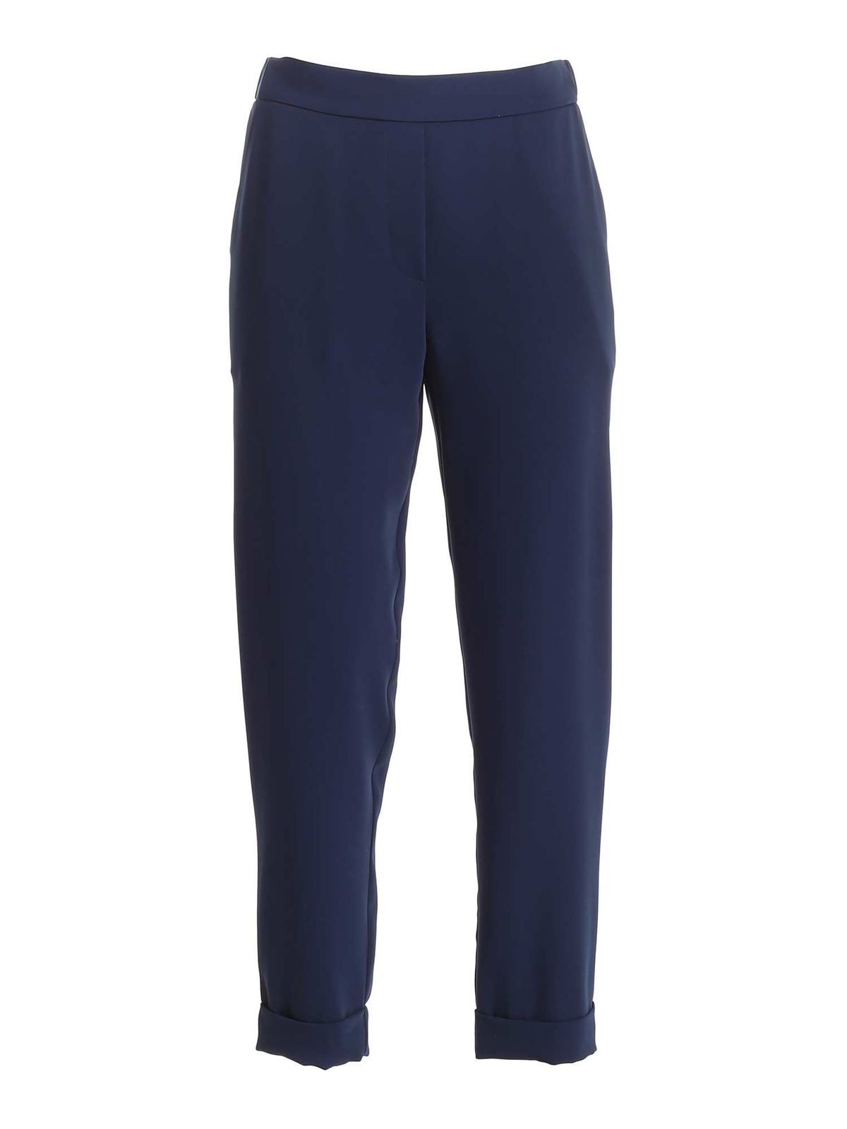 P.a.r.o.s.h. TURNED-UP HEM CADY PANTS IN BLUE