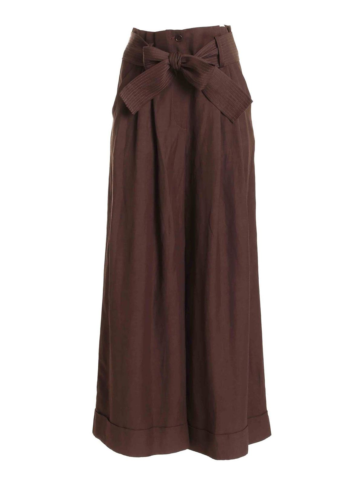 P.a.r.o.s.h. TURNED-UP PALAZZO PANTS IN BROWN
