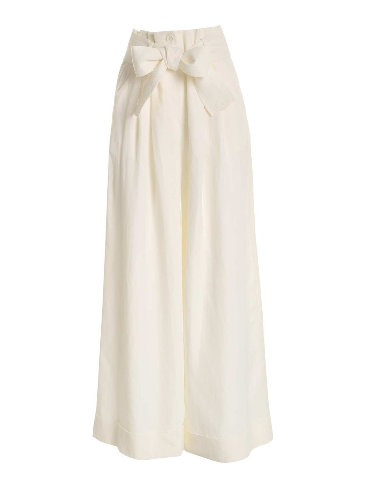 P.a.r.o.s.h. TURNED-UP PALAZZO PANTS IN IVORY COLOR
