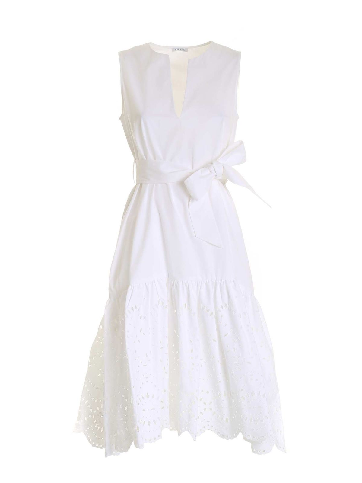 P.A.R.O.S.H. BRODERIE ANGLAISE FLOUNCED DRESS