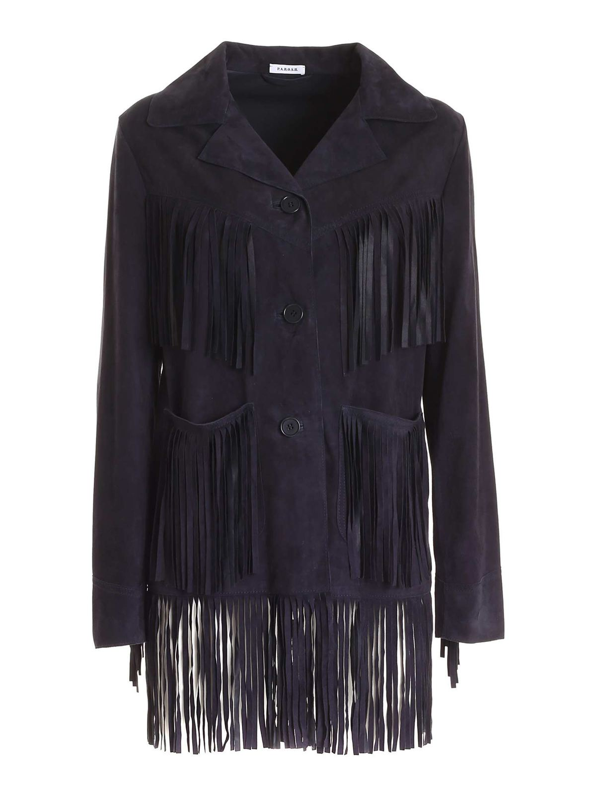 P.a.r.o.s.h. FRINGES SUEDE JACKET IN BLUE
