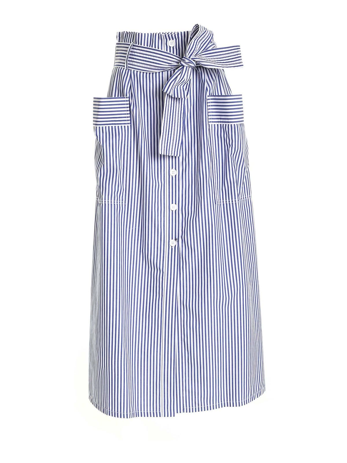 P.a.r.o.s.h. STRIPED SKIRT IN WHITE AND BLUE