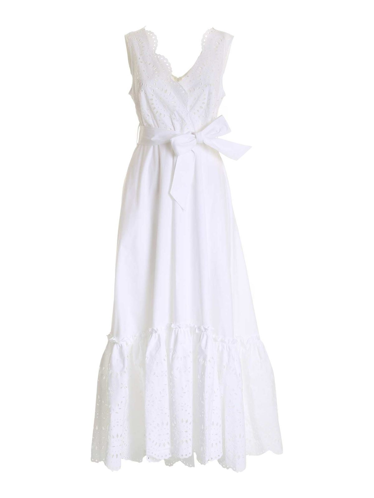 P.A.R.O.S.H. EMBROIDERED FLOUNCE DRESS IN WHITE