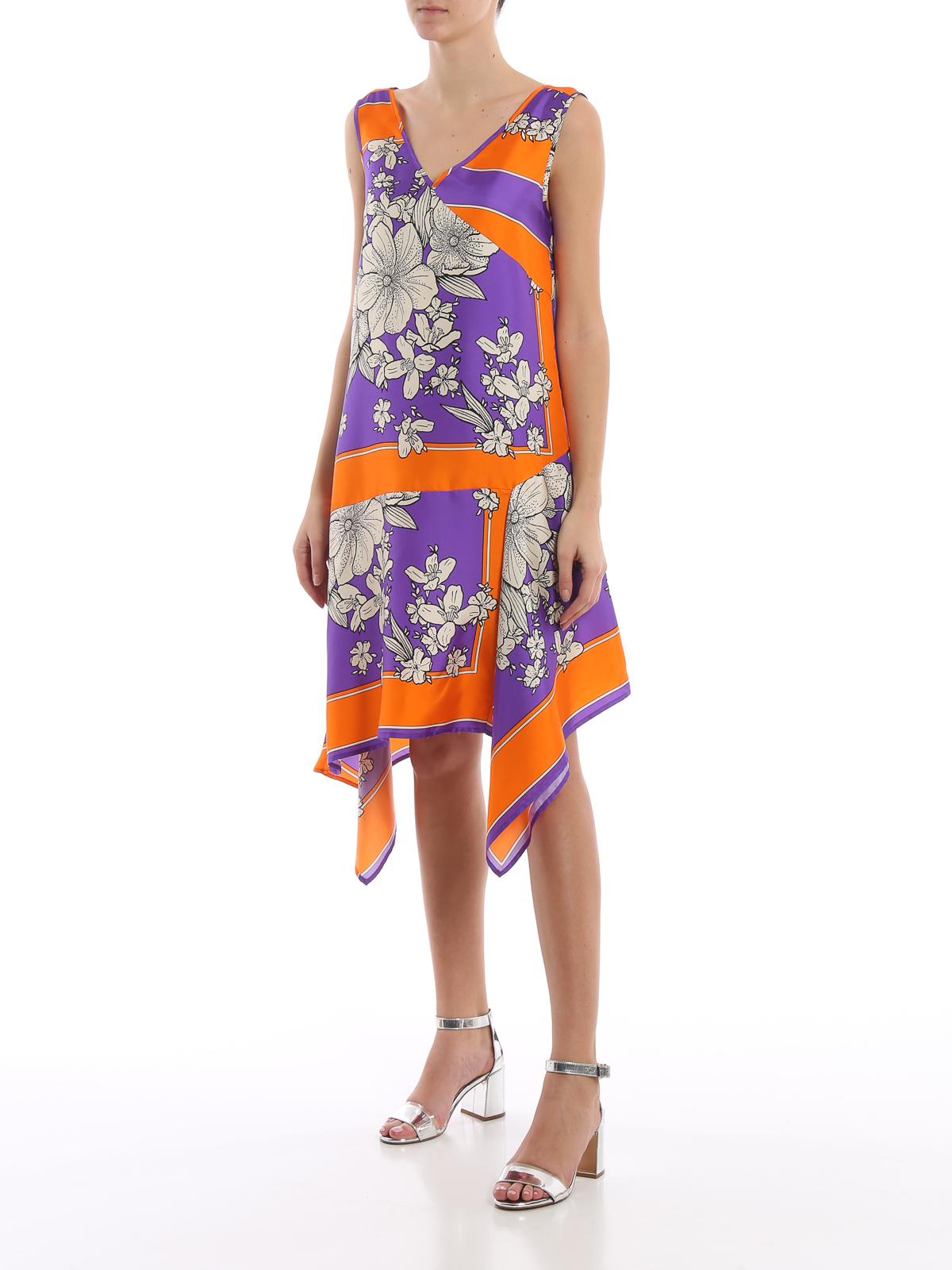r Dress Asymmetric a Length Salto Knee Floral o P Silk s h g5zw77xO