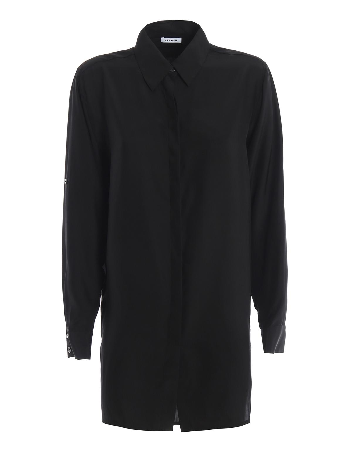 premium selection 33e2d f8e7c P.A.R.O.S.H. - Camicia Softer nera in raso di seta - camicie ...